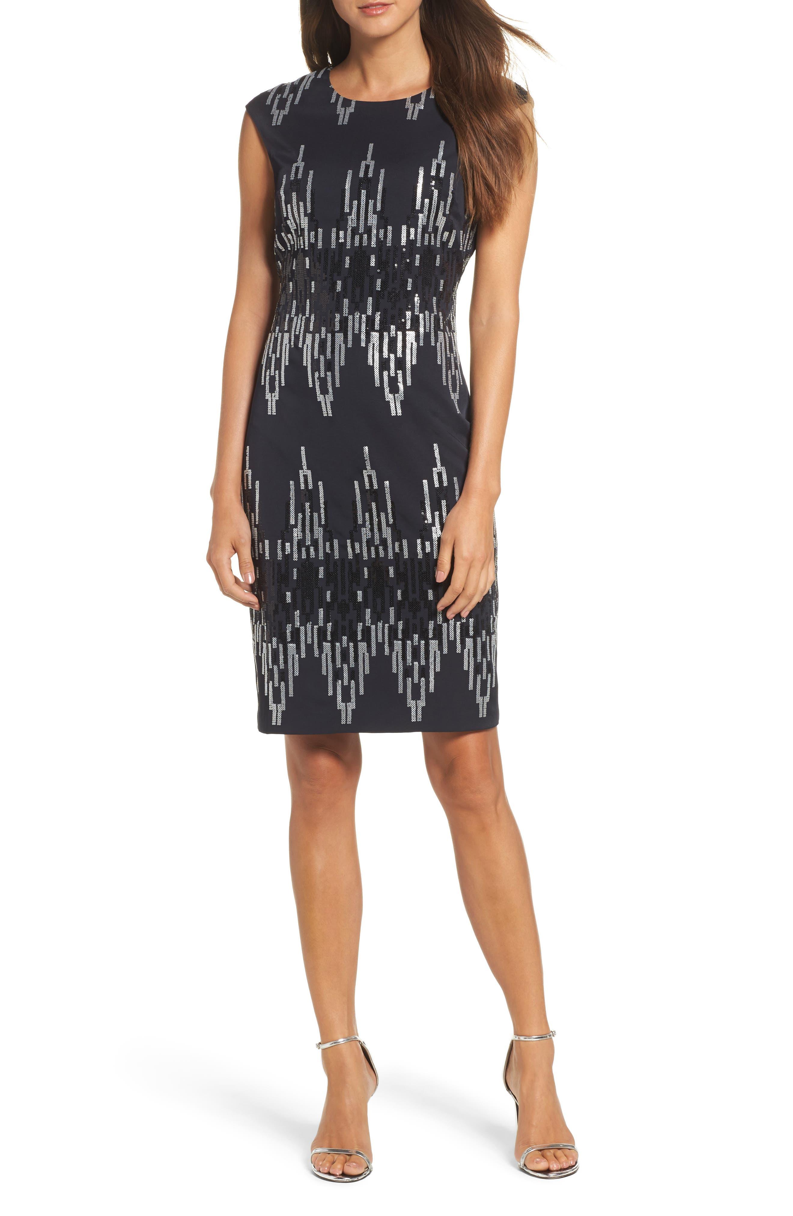 Sequin Body-Con Dress,                         Main,                         color, Black/ Silver