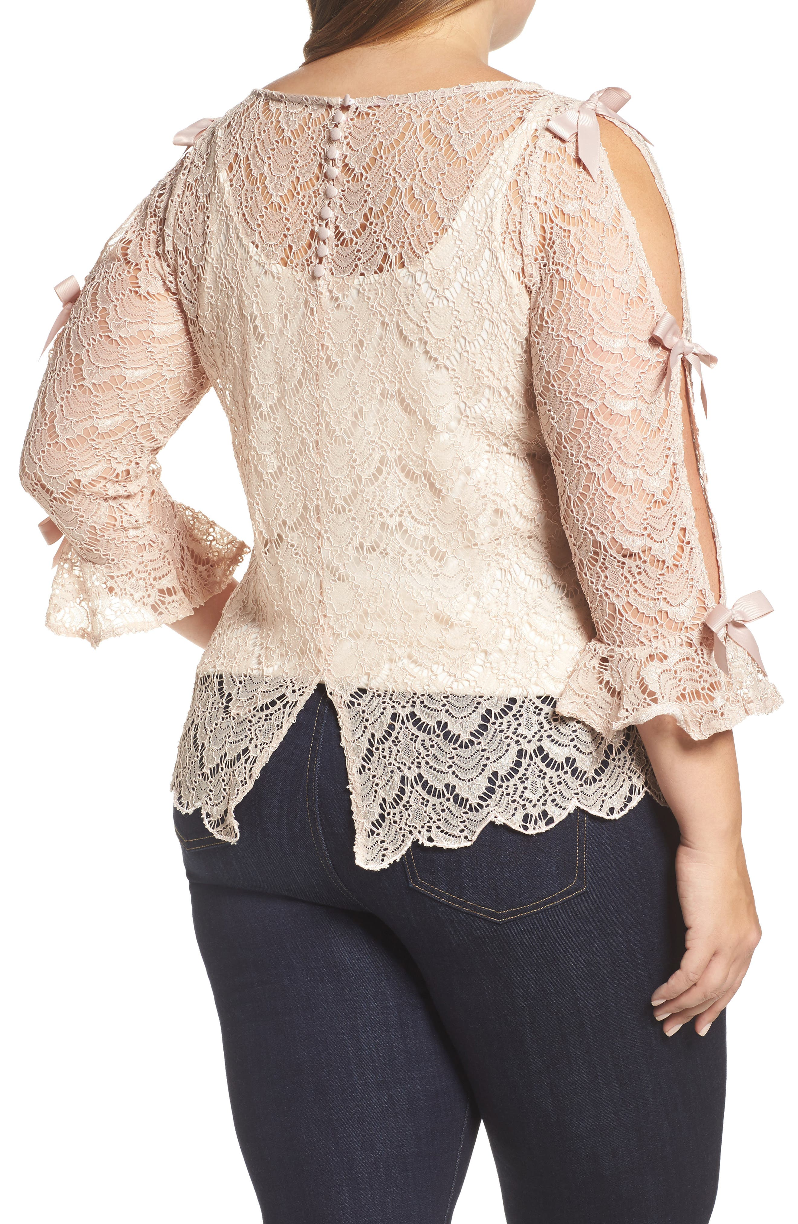 Bow Sleeve Lace Top,                             Alternate thumbnail 2, color,                             Nude