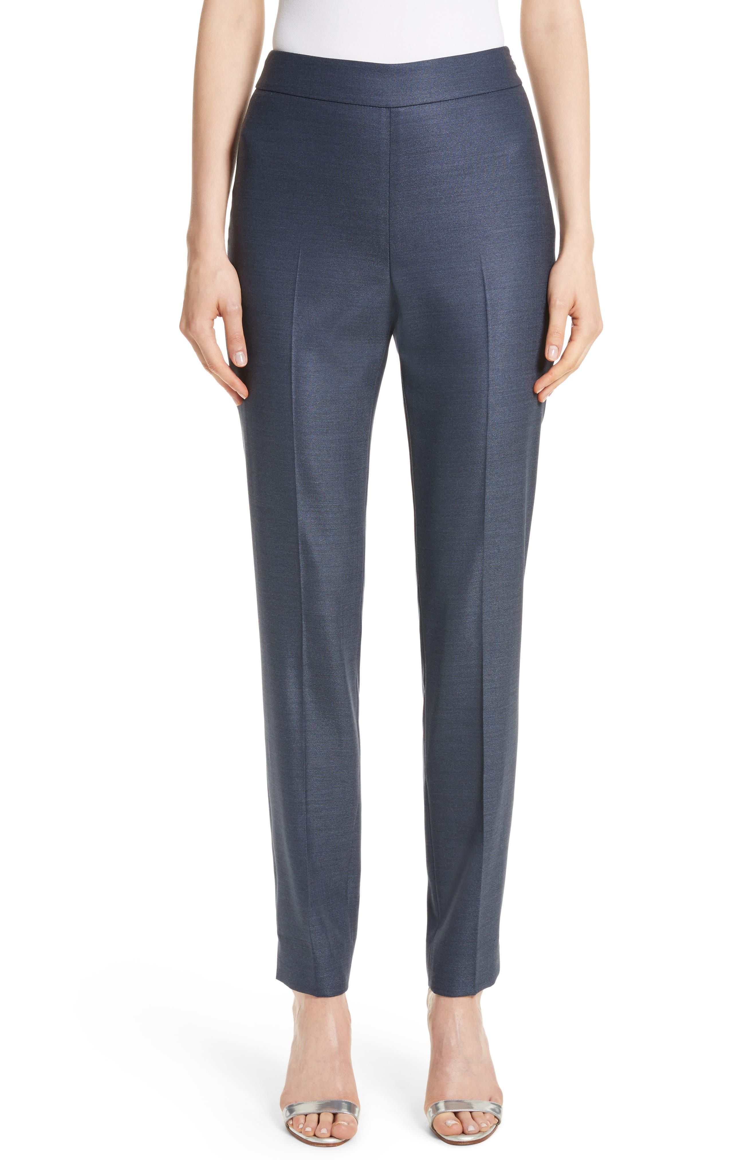 Stretch Birdseye Skinny Ankle Pants,                         Main,                         color, Light Navy Melange