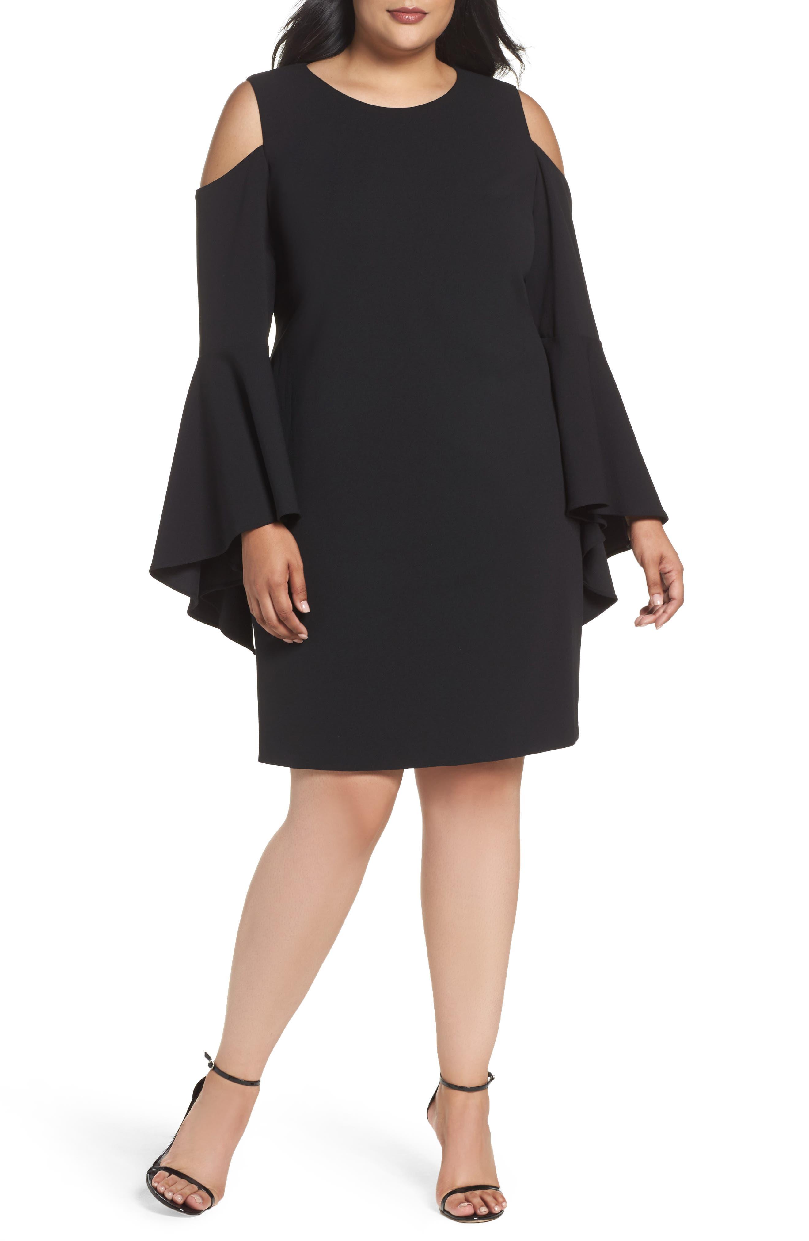 Flounce Cuff Cold Shoulder Dress,                         Main,                         color, Rich Black