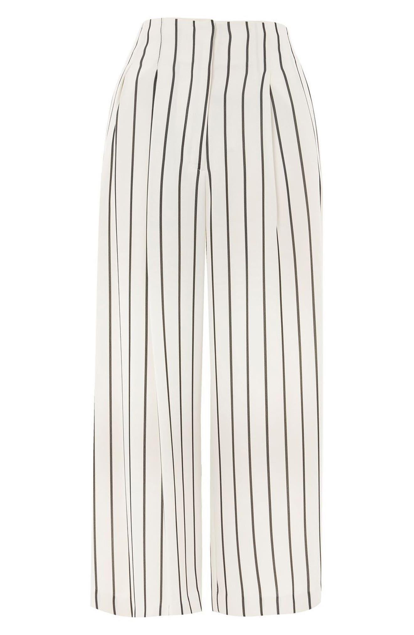 Alternate Image 4  - Topshop Stripe Crop Wide Leg Trousers