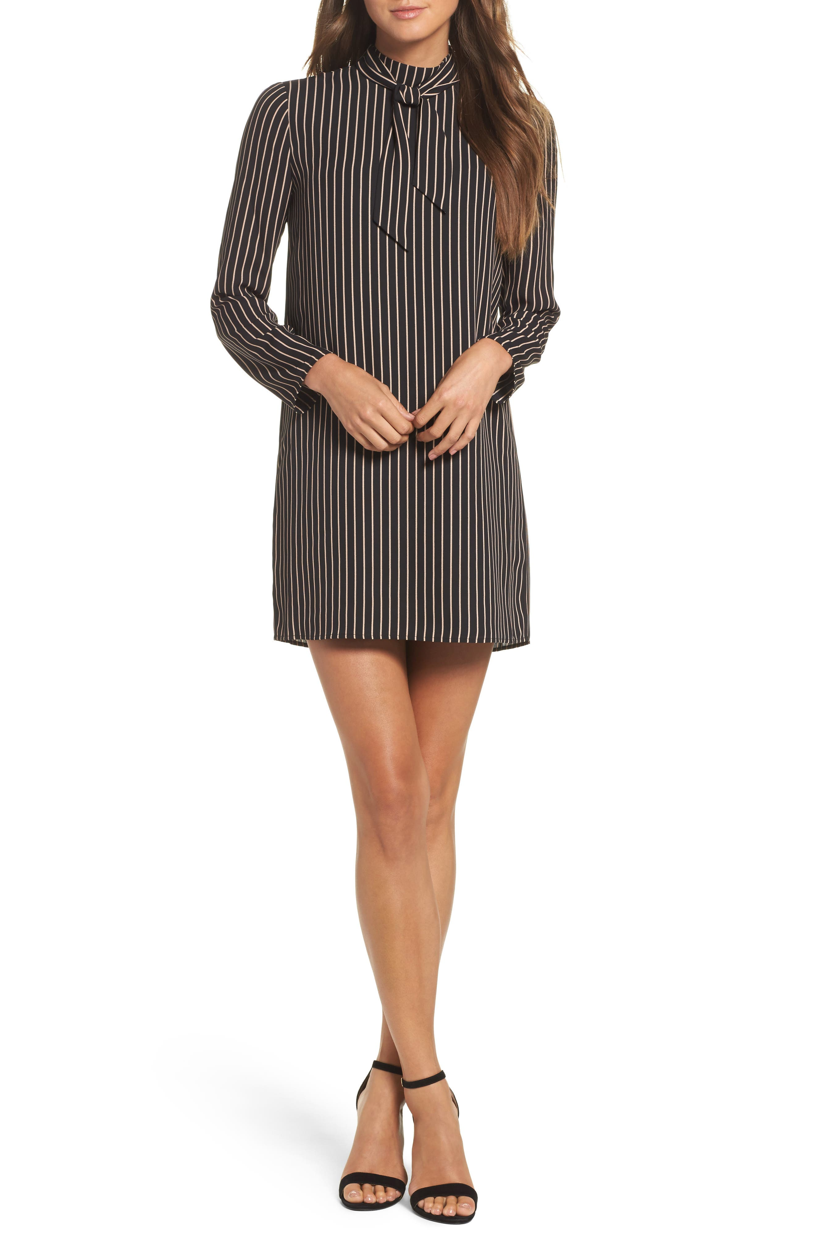 She-E-O Shift Dress,                         Main,                         color, Black/ Tan Stripe