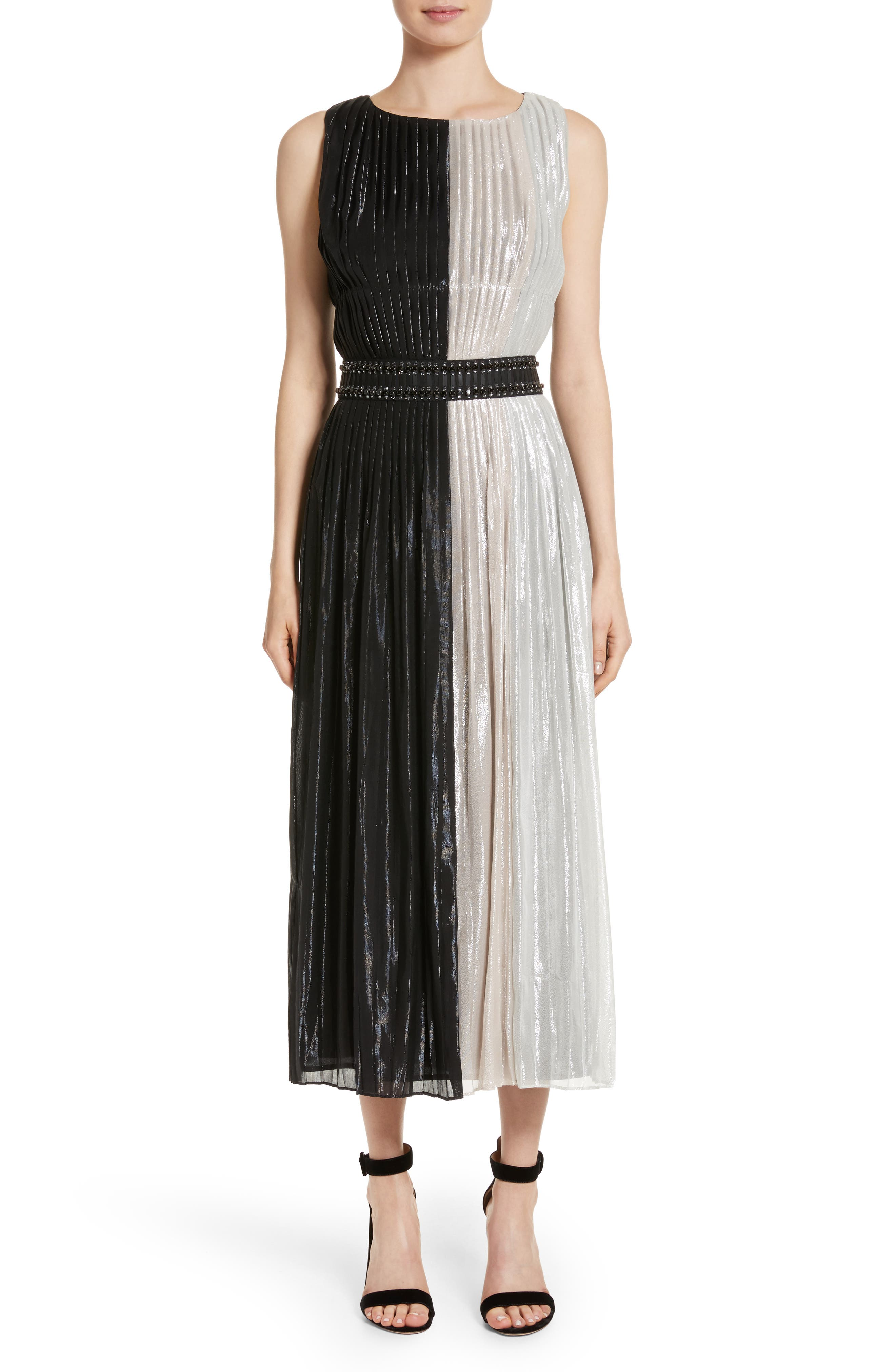 Pleated Chiffon Midi Dress,                         Main,                         color, Caviar/ Powder/ Bianco