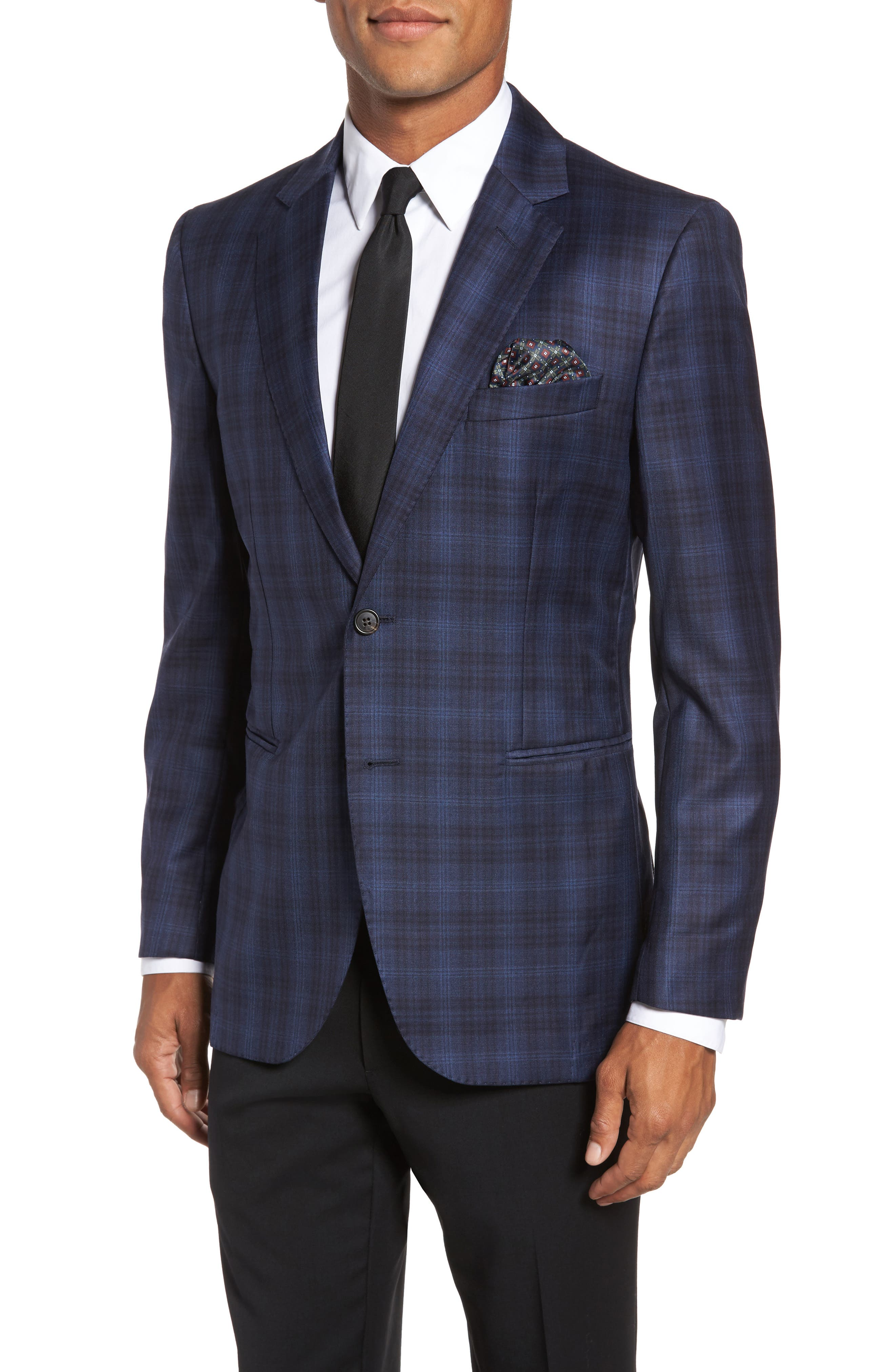 Midnatt Trim Fit Plaid Wool Sport Coat,                         Main,                         color, Black Iris