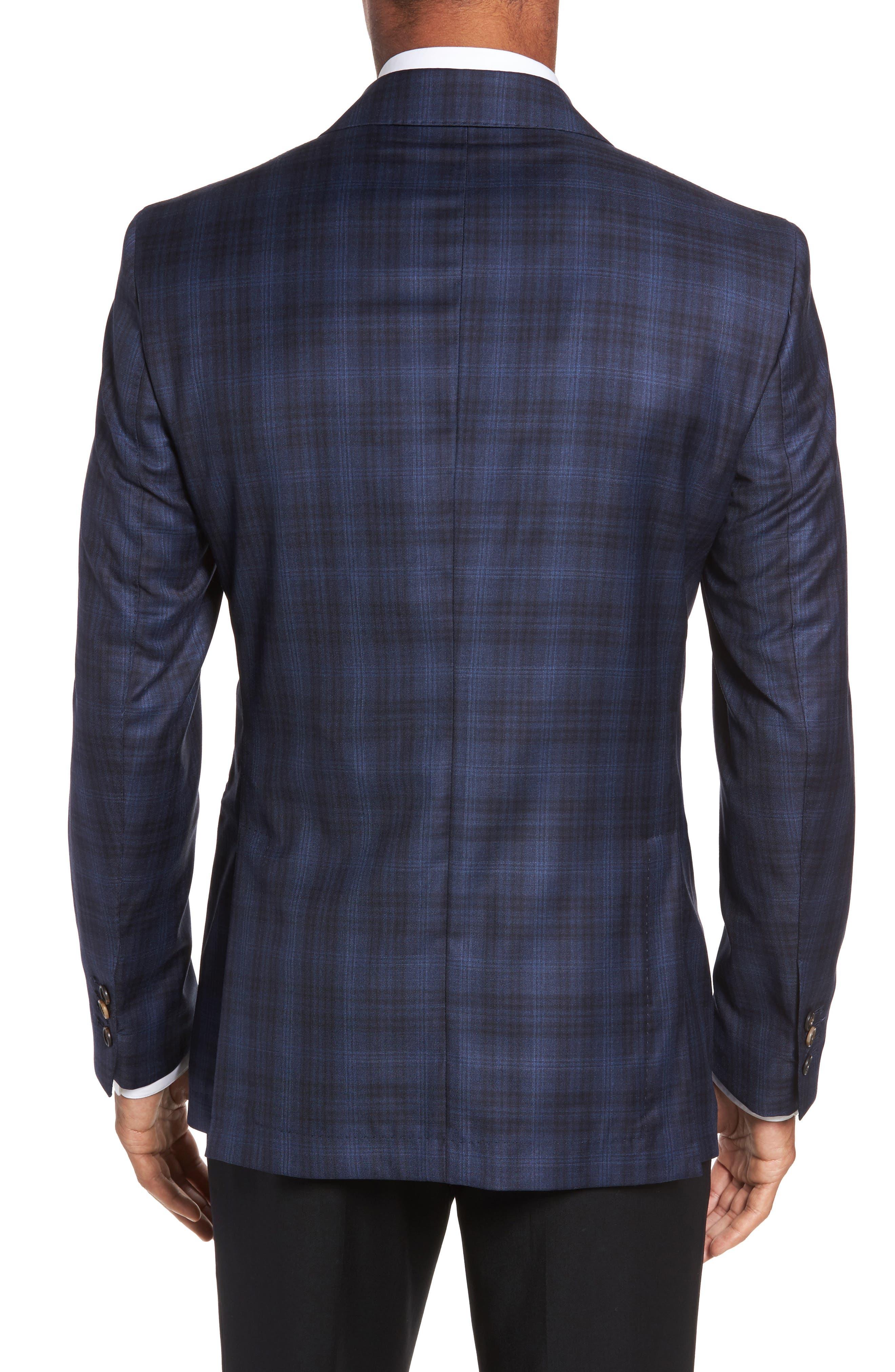 Midnatt Trim Fit Plaid Wool Sport Coat,                             Alternate thumbnail 2, color,                             Black Iris
