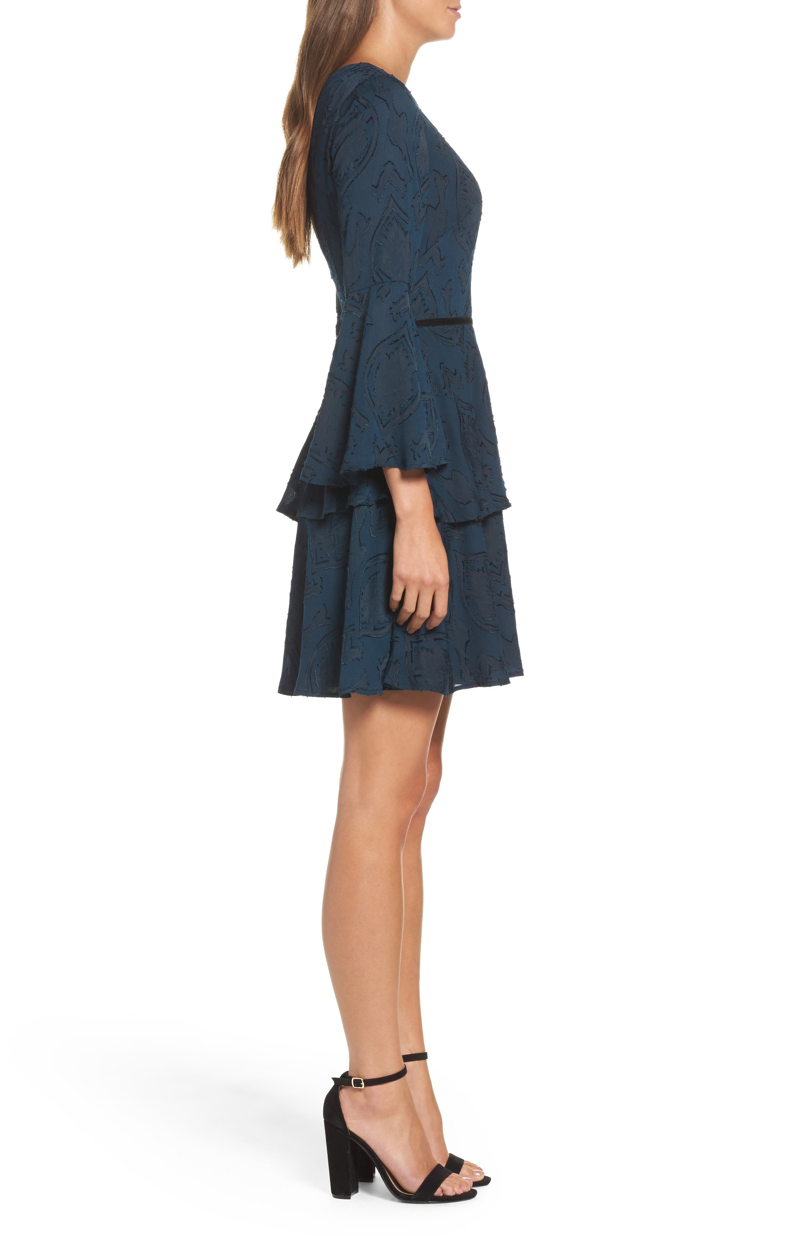 Tiered Chiffon Fit & Flare Dress,                             Alternate thumbnail 3, color,                             Teal/ Black