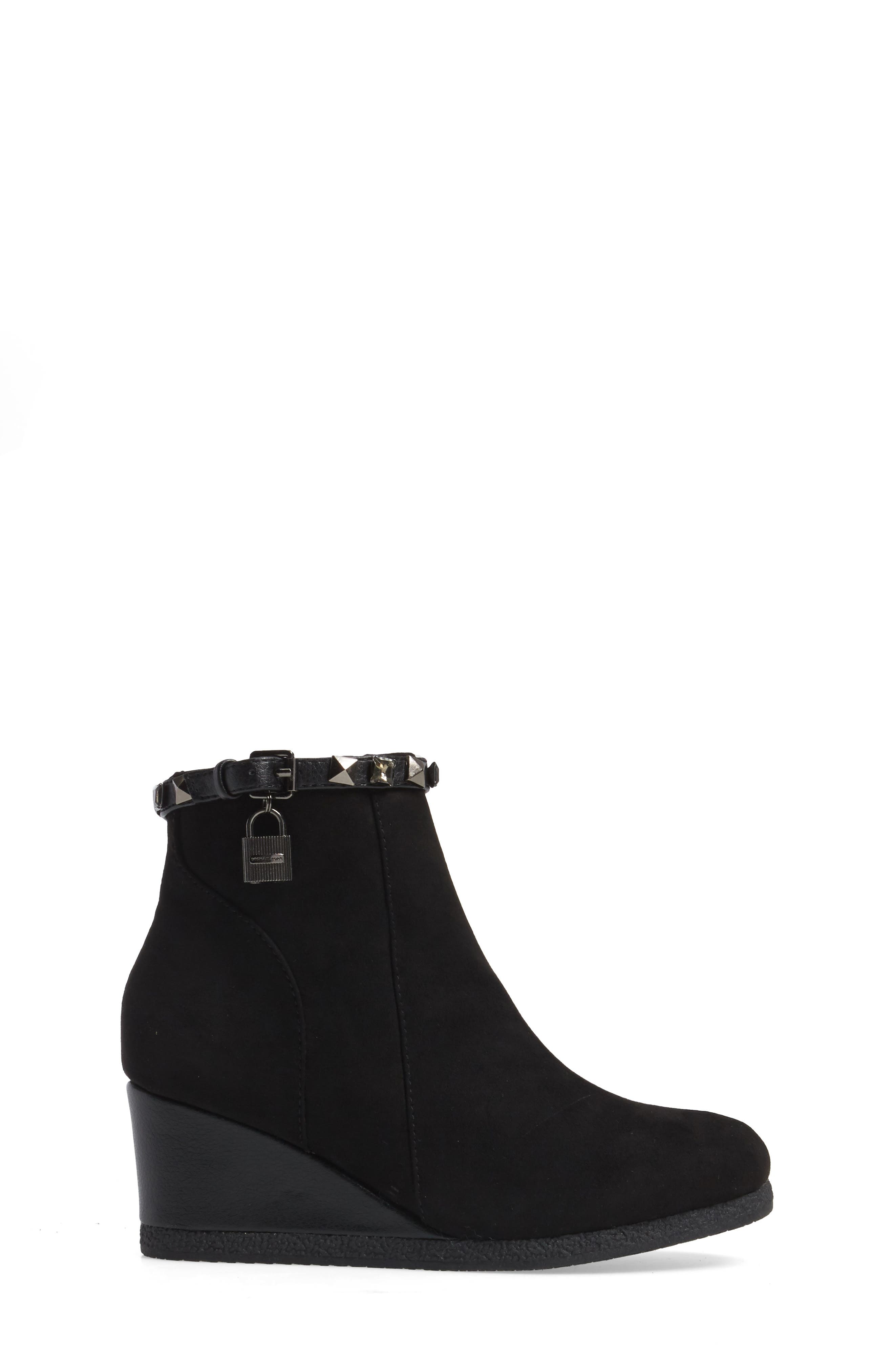 Cara Key Studded Wedge Bootie,                             Alternate thumbnail 3, color,                             Black