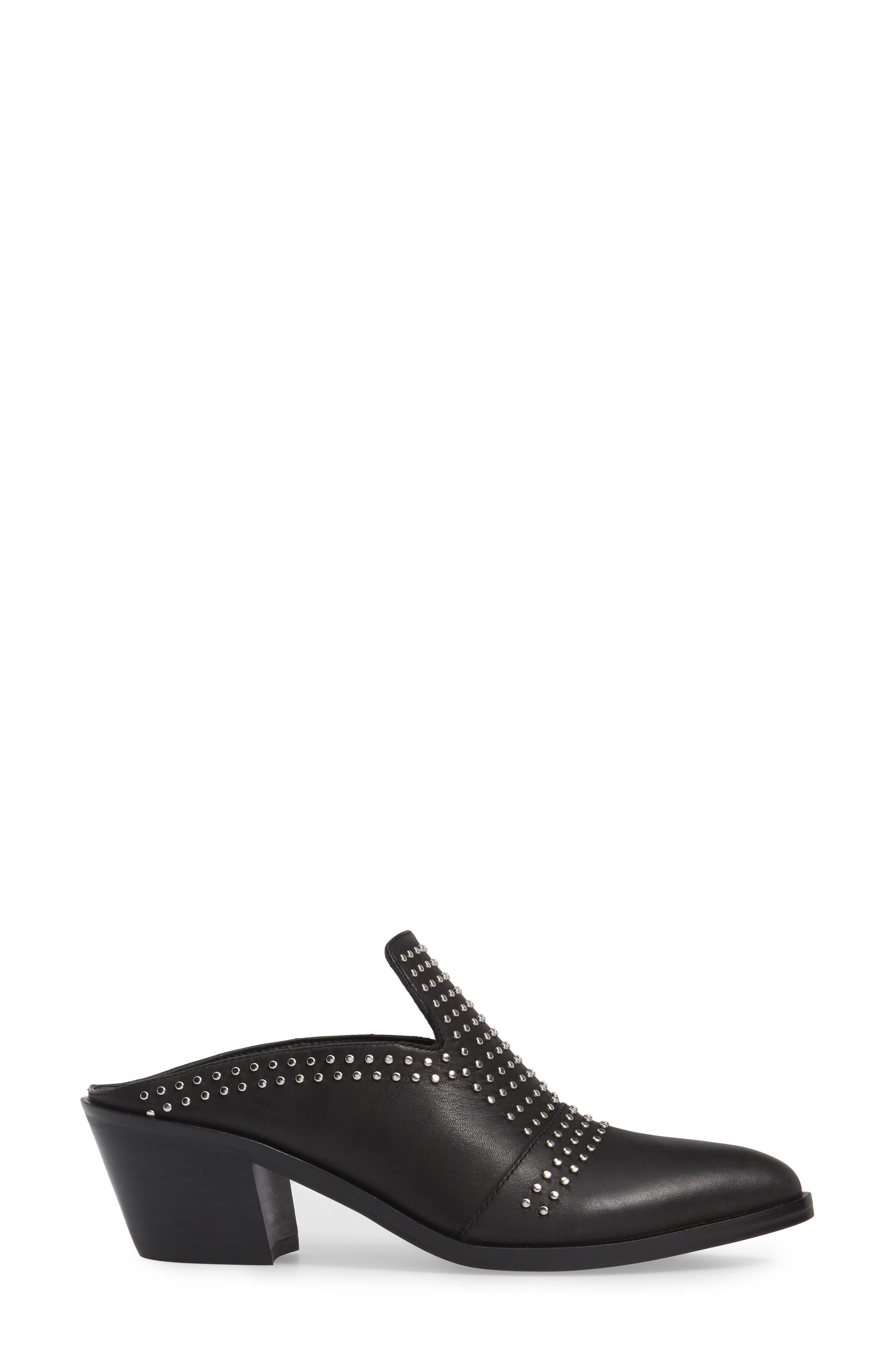 Lon Studded Loafer Mule,                             Alternate thumbnail 3, color,                             Black Leather