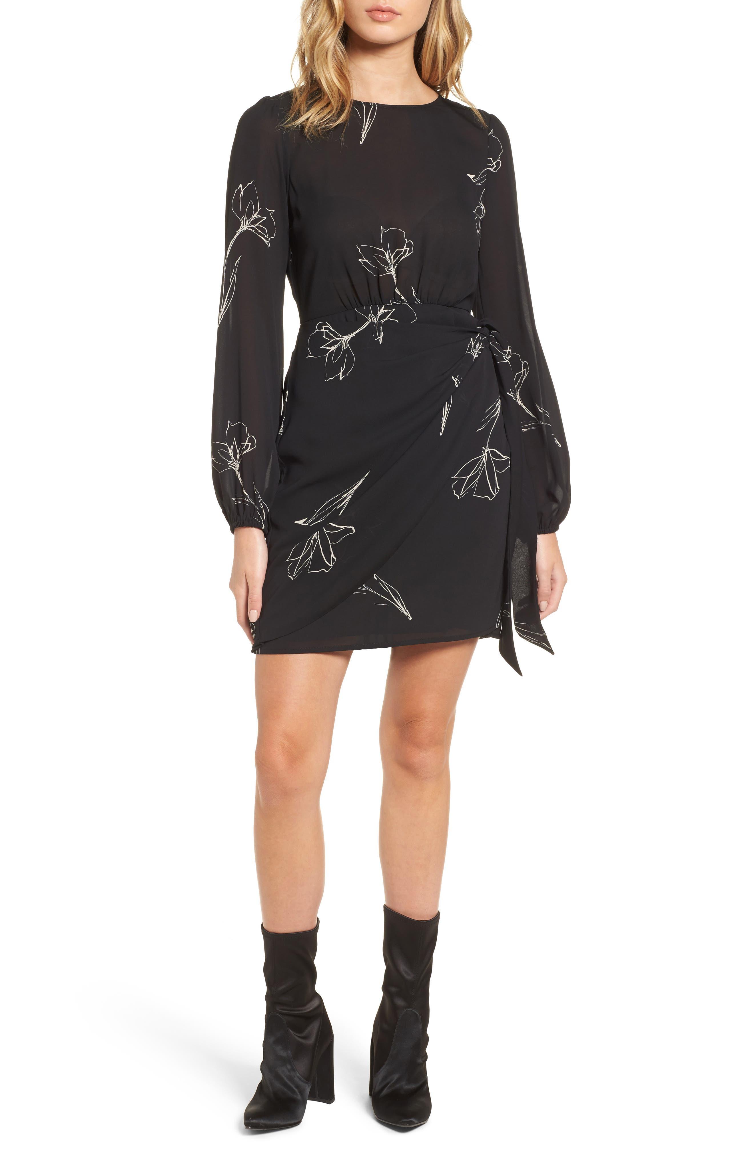 Tie Skirt Dress,                         Main,                         color, Black Sketch Floral