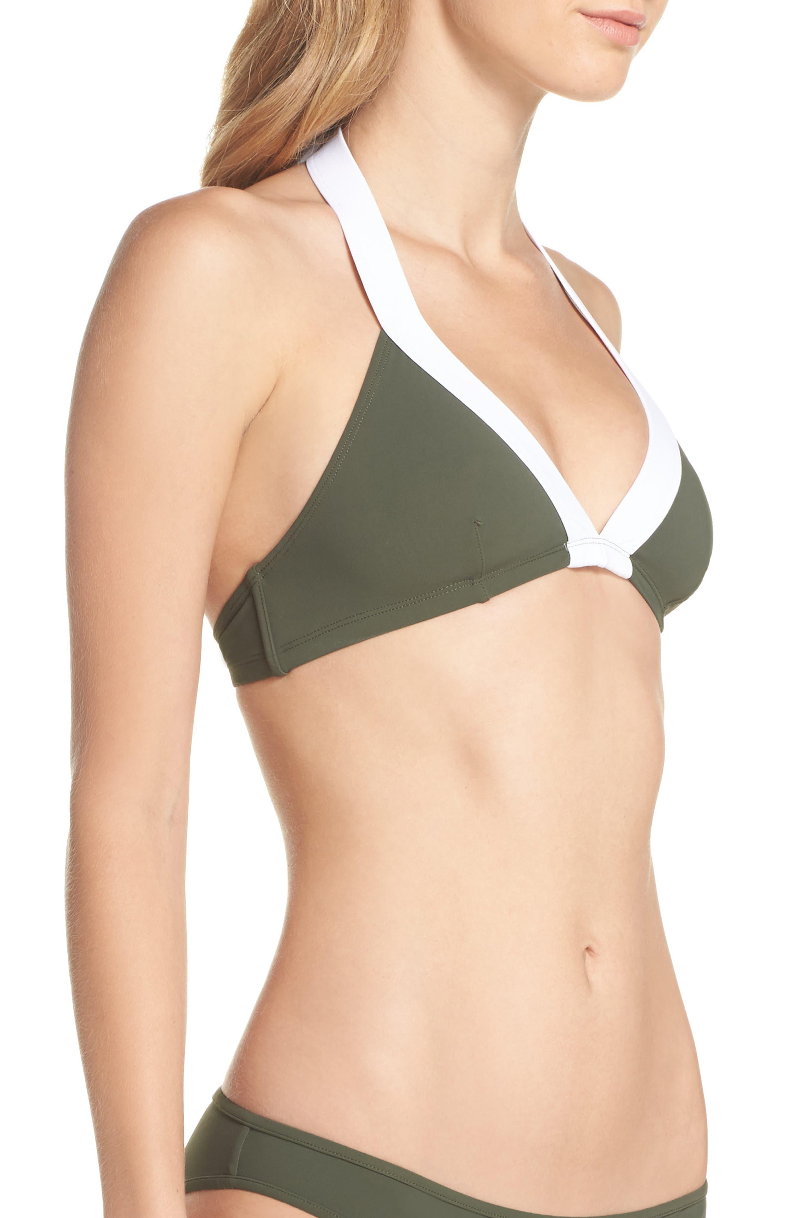 Banded Halter Bikini Top,                             Alternate thumbnail 3, color,                             Camo/ White