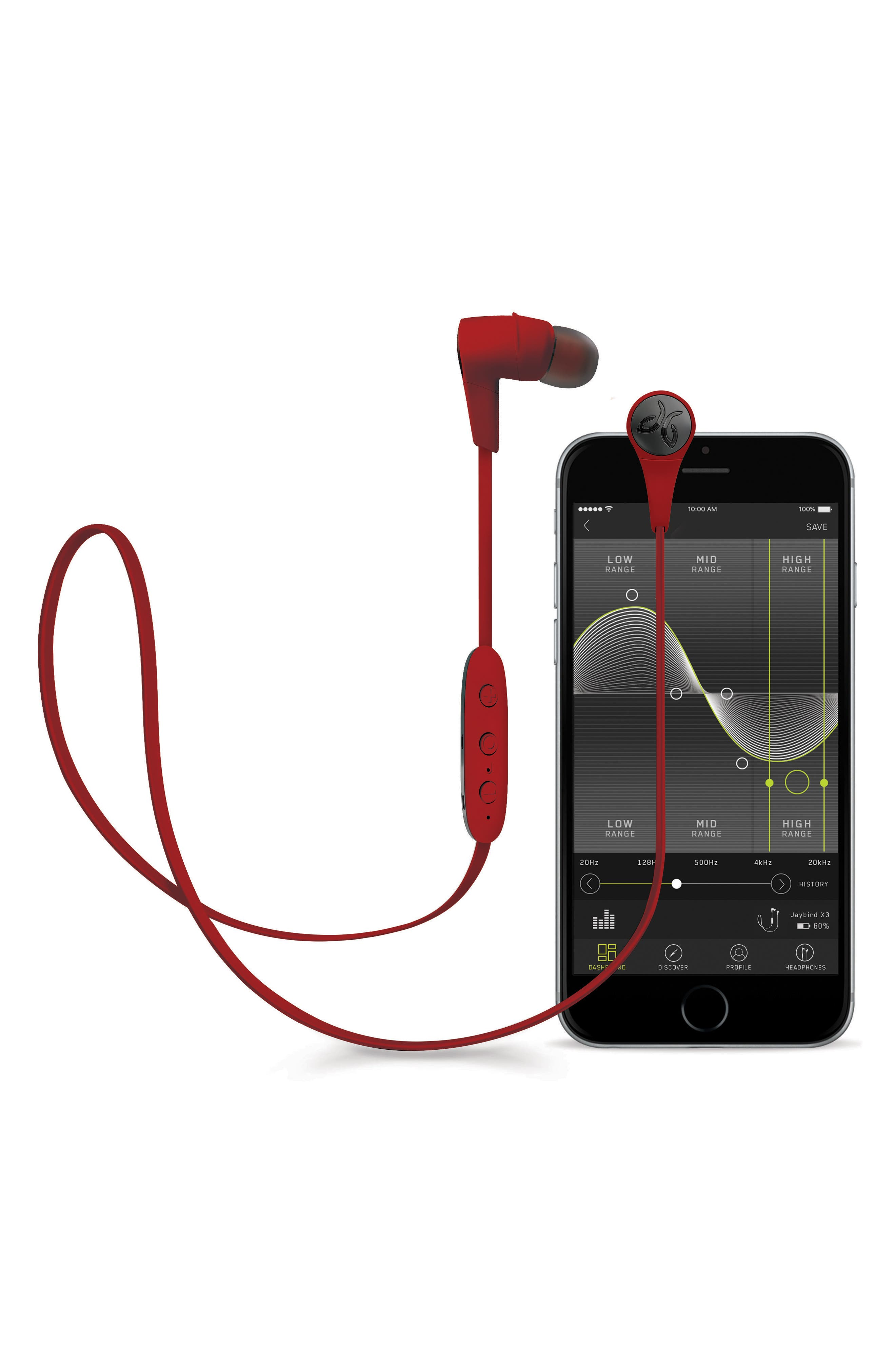 x3 Sport BT Wireless Earbuds,                             Alternate thumbnail 3, color,                             Red