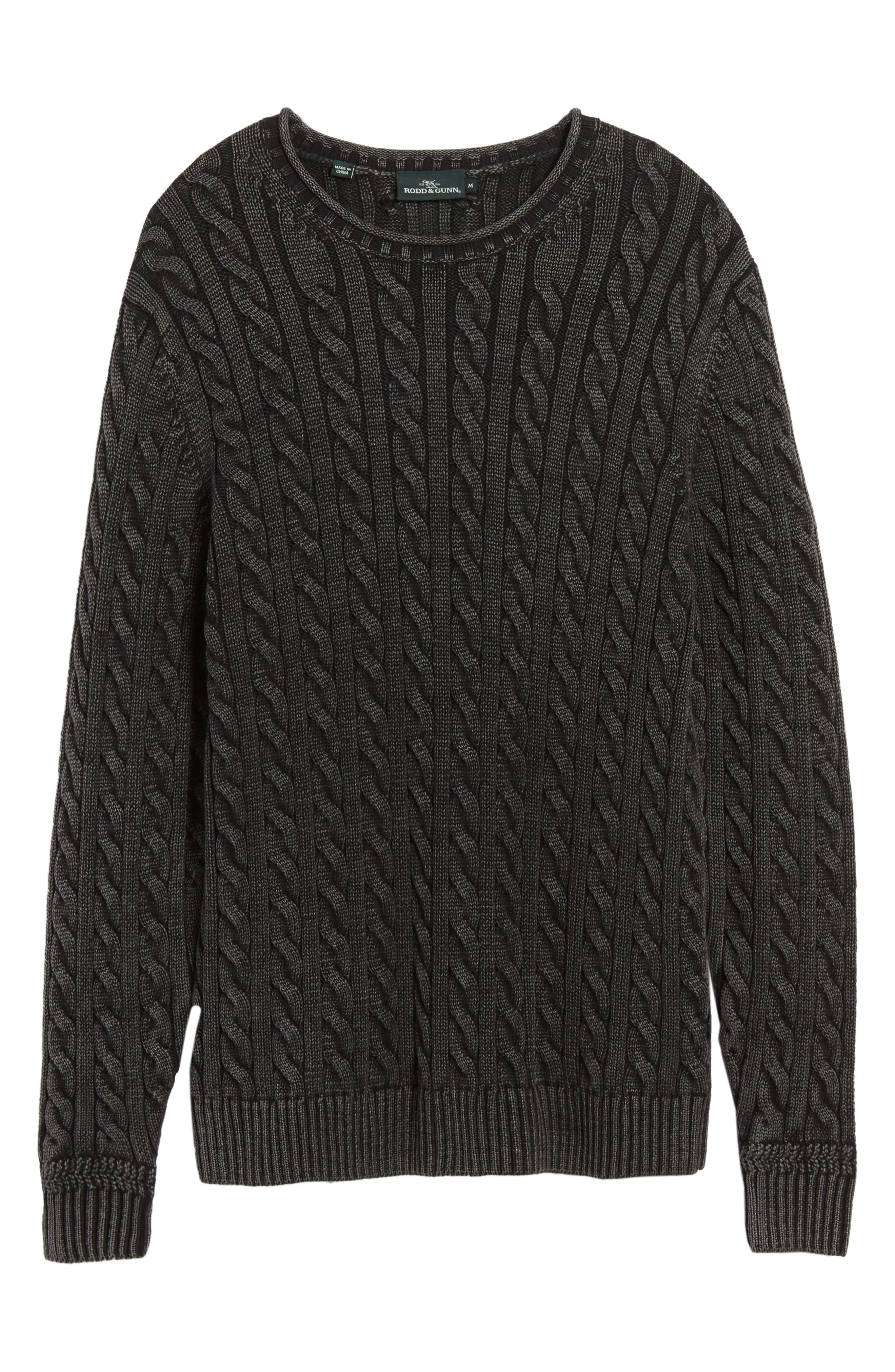 Landray Cable Knit Cotton Sweater,                             Alternate thumbnail 6, color,                             Charcoal