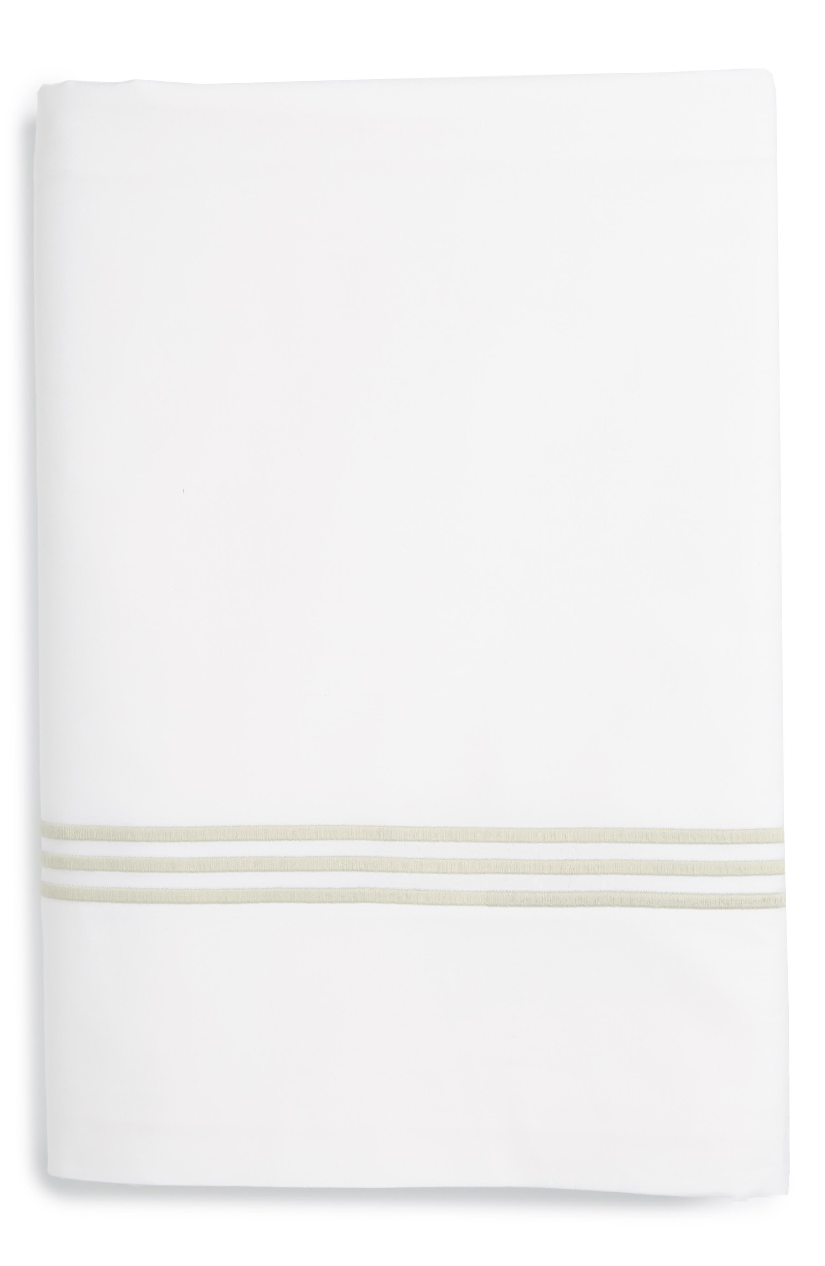 Bel Tempo 350 Thread Count Flat Sheet,                             Main thumbnail 1, color,                             Almond