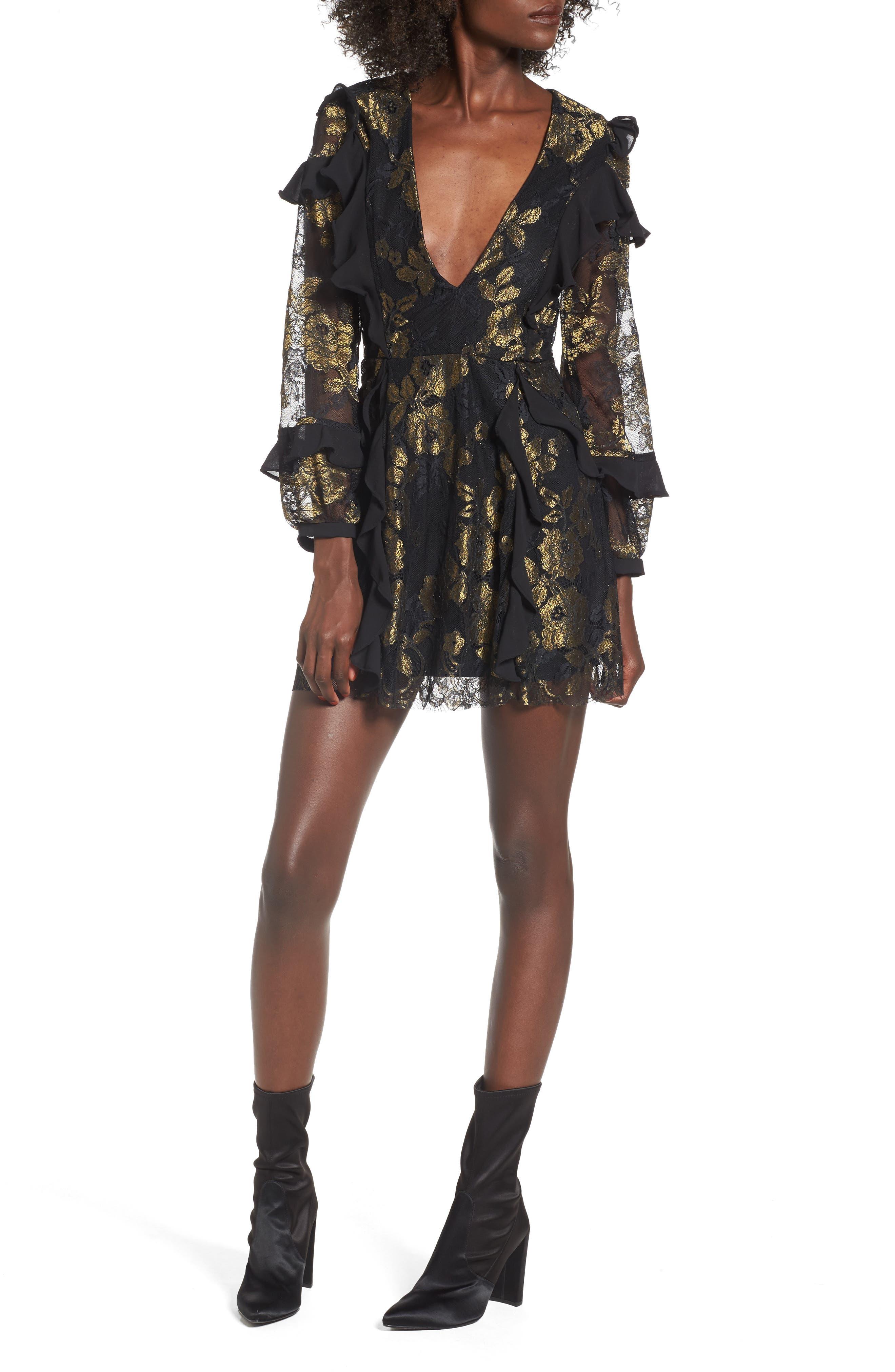 Bumble Minidress,                         Main,                         color, Black Gold