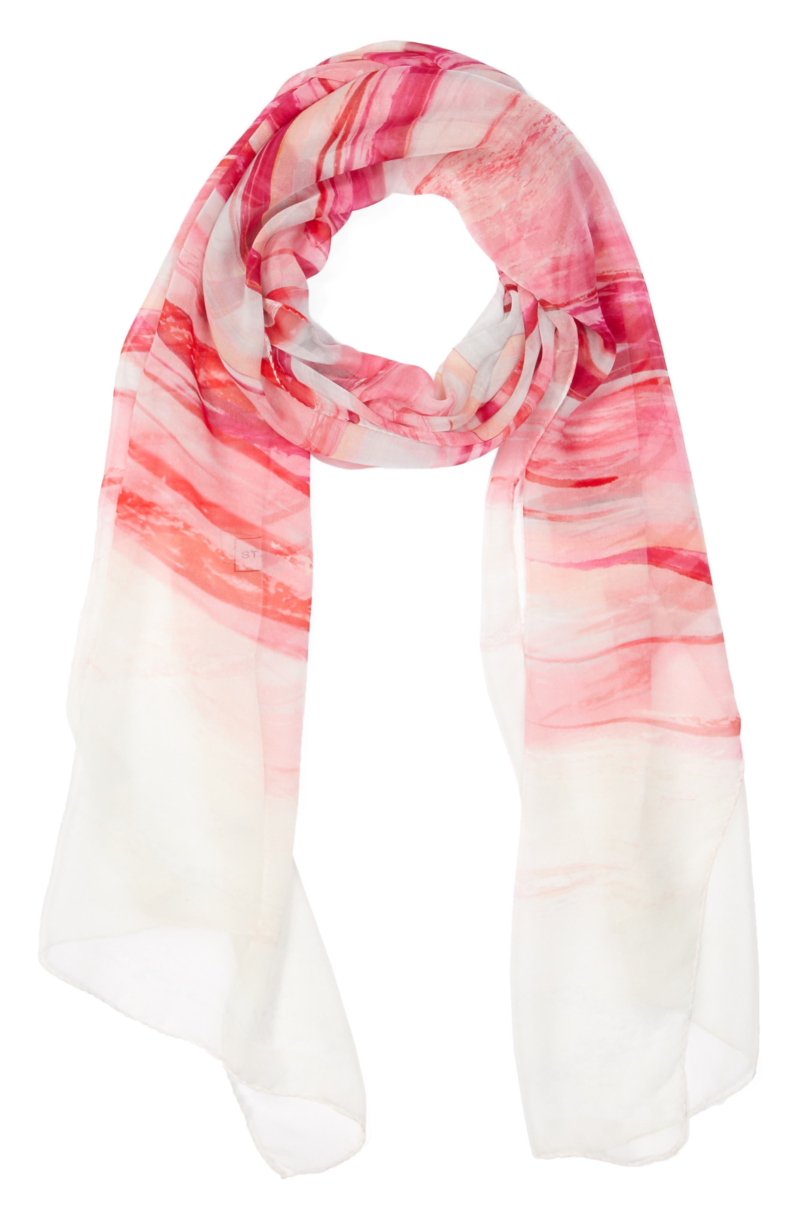 St. John Collection Textured Brushstroke Print Silk Scarf