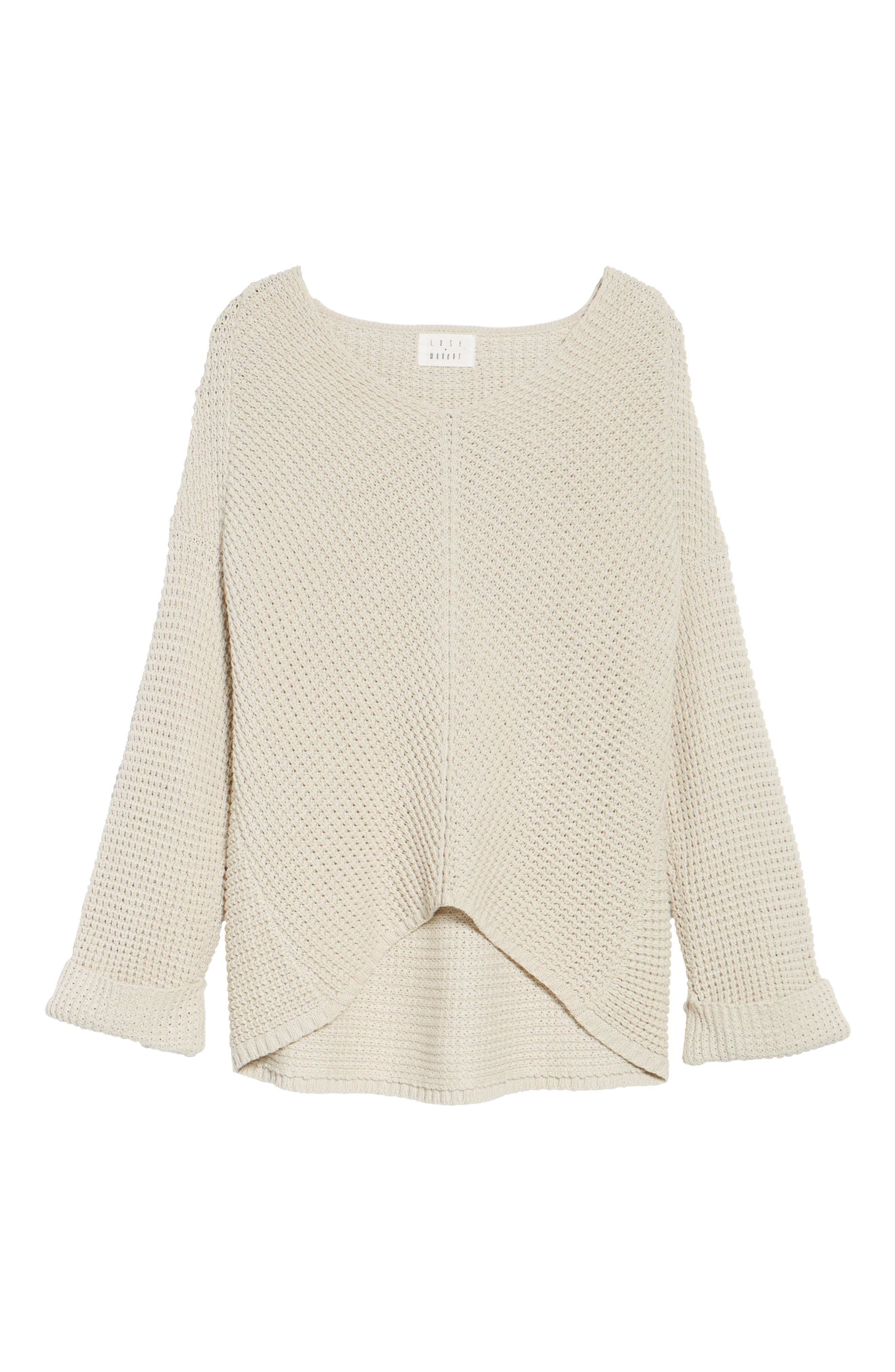 Adelia Bell Sleeve Sweater,                             Alternate thumbnail 7, color,                             Creme