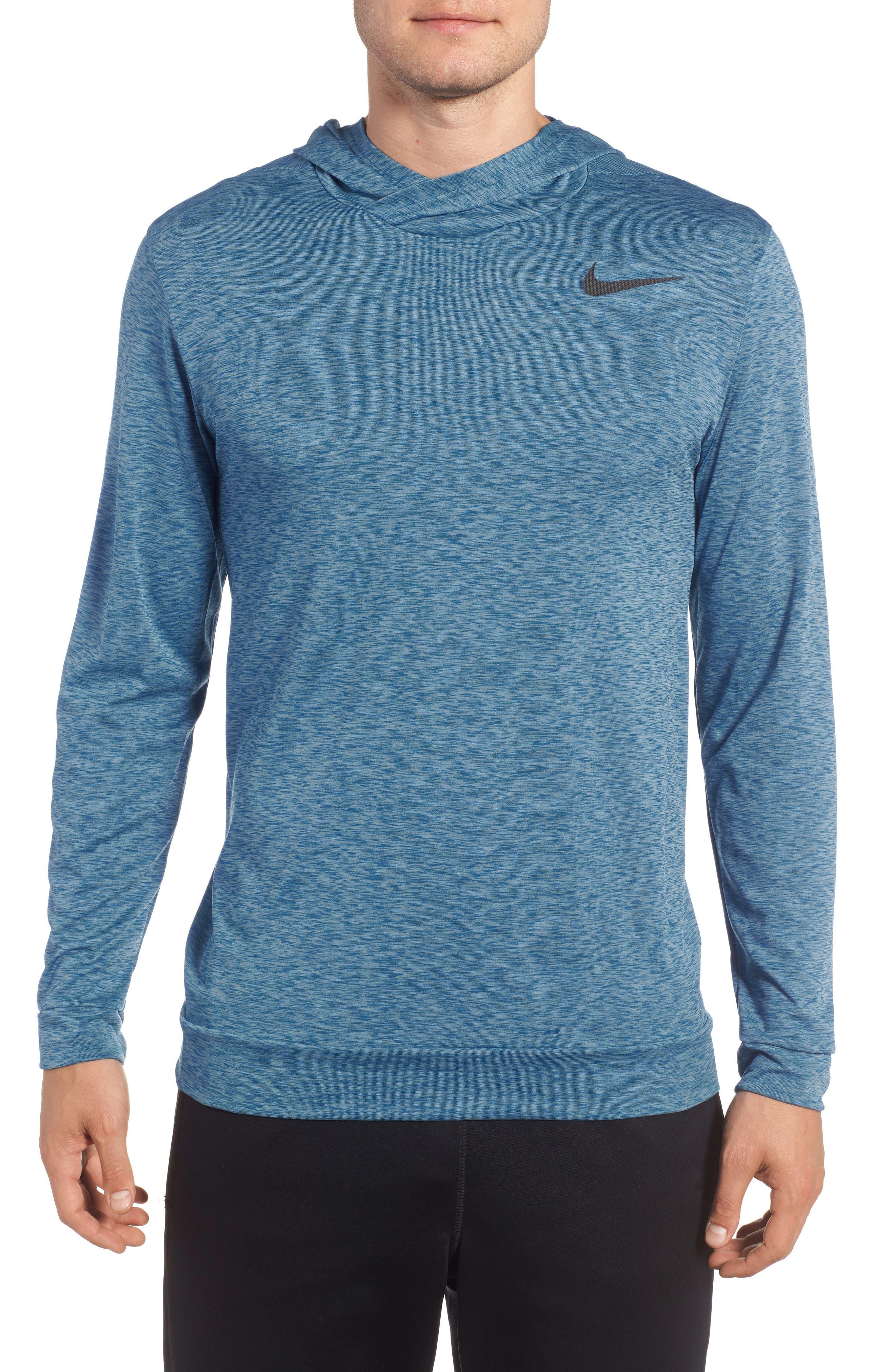 Hyper Dry Regular Fit Training Hoodie,                         Main,                         color, Cerulean/ Blue Jay/ Black