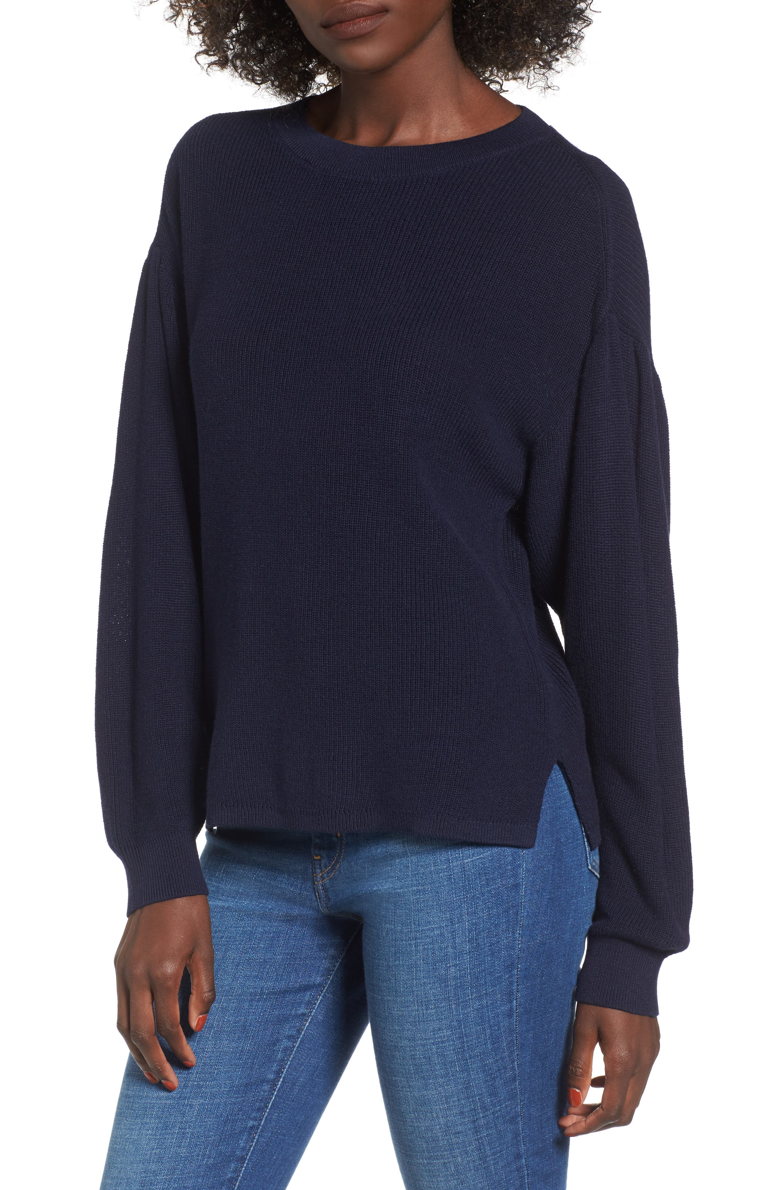 Drape Sleeve Sweater,                             Main thumbnail 1, color,                             Navy Evening