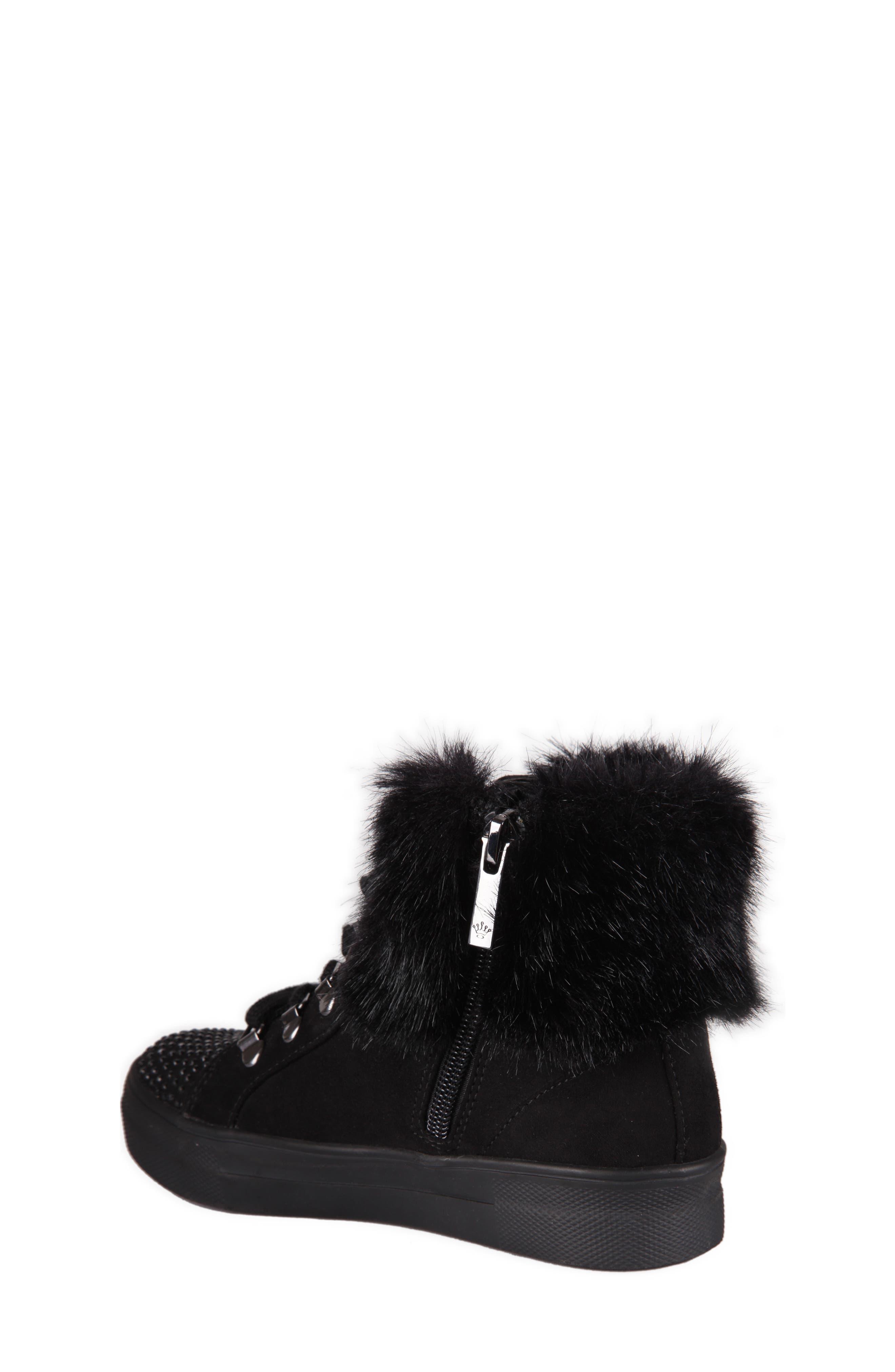 Alternate Image 2  - Nina Randi Studded Faux Fur High Top (Walker, Toddler, Little Kid & Big Kid)