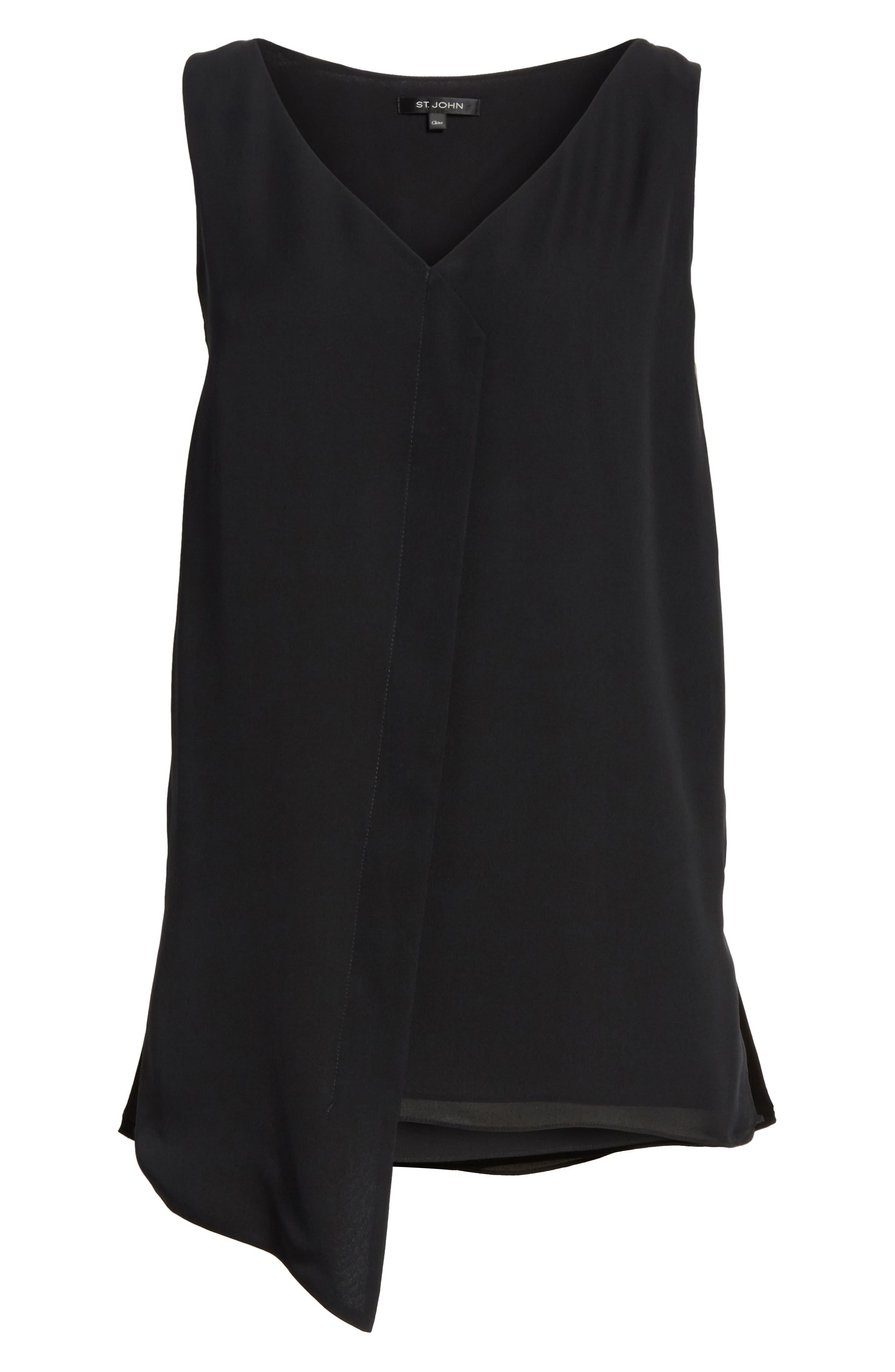 Alternate Image 6  - St. John Collection Silk Satin Drape Top