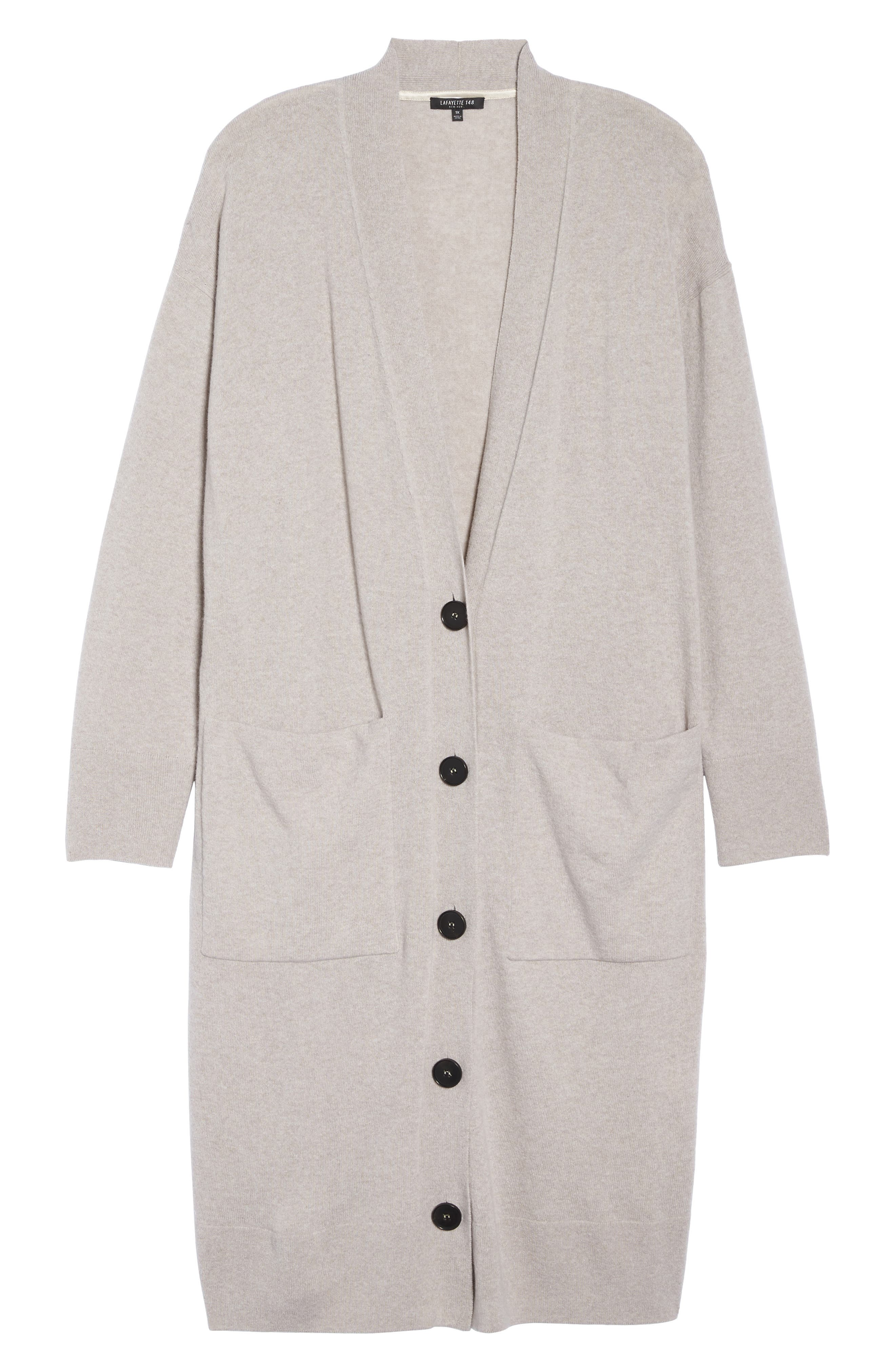 Long Merino Wool & Cashmere Cardigan,                             Alternate thumbnail 6, color,                             Luxor Melange