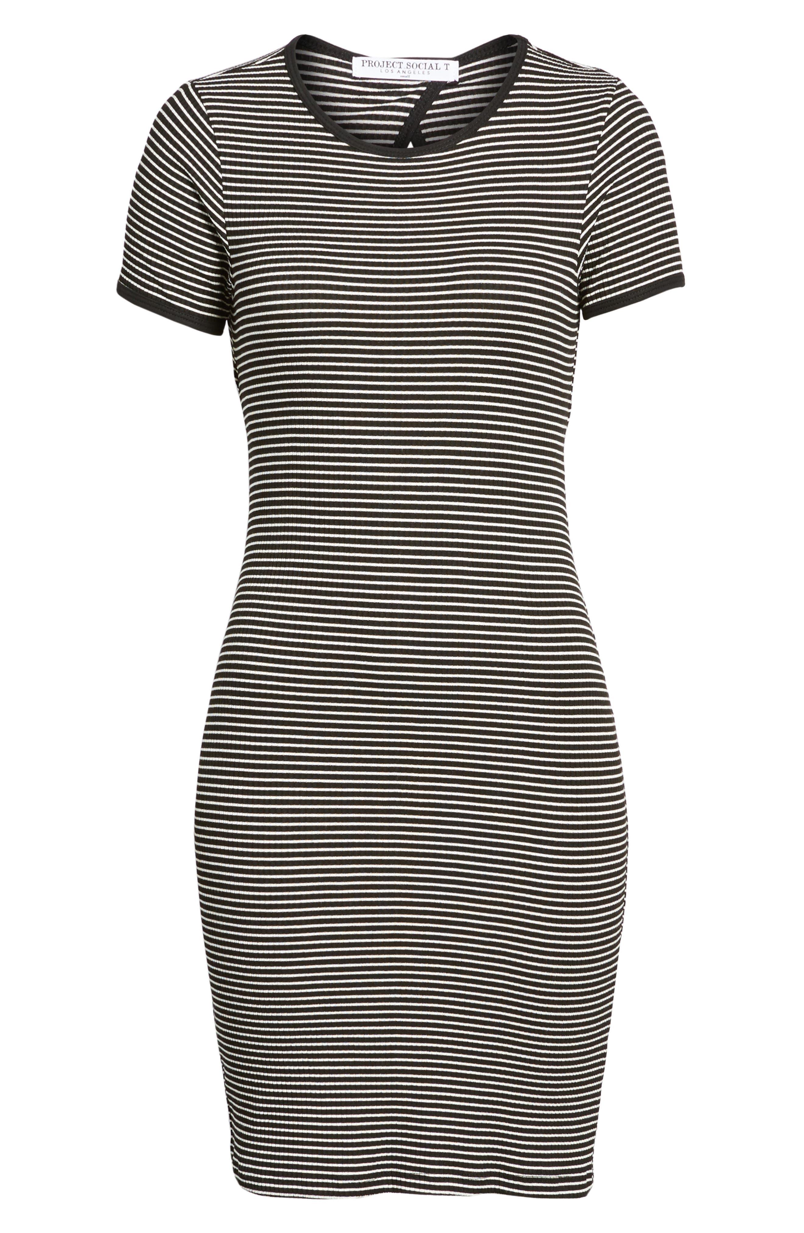 Cutout Stripe T-Shirt Dress,                             Alternate thumbnail 6, color,                             White/ Black