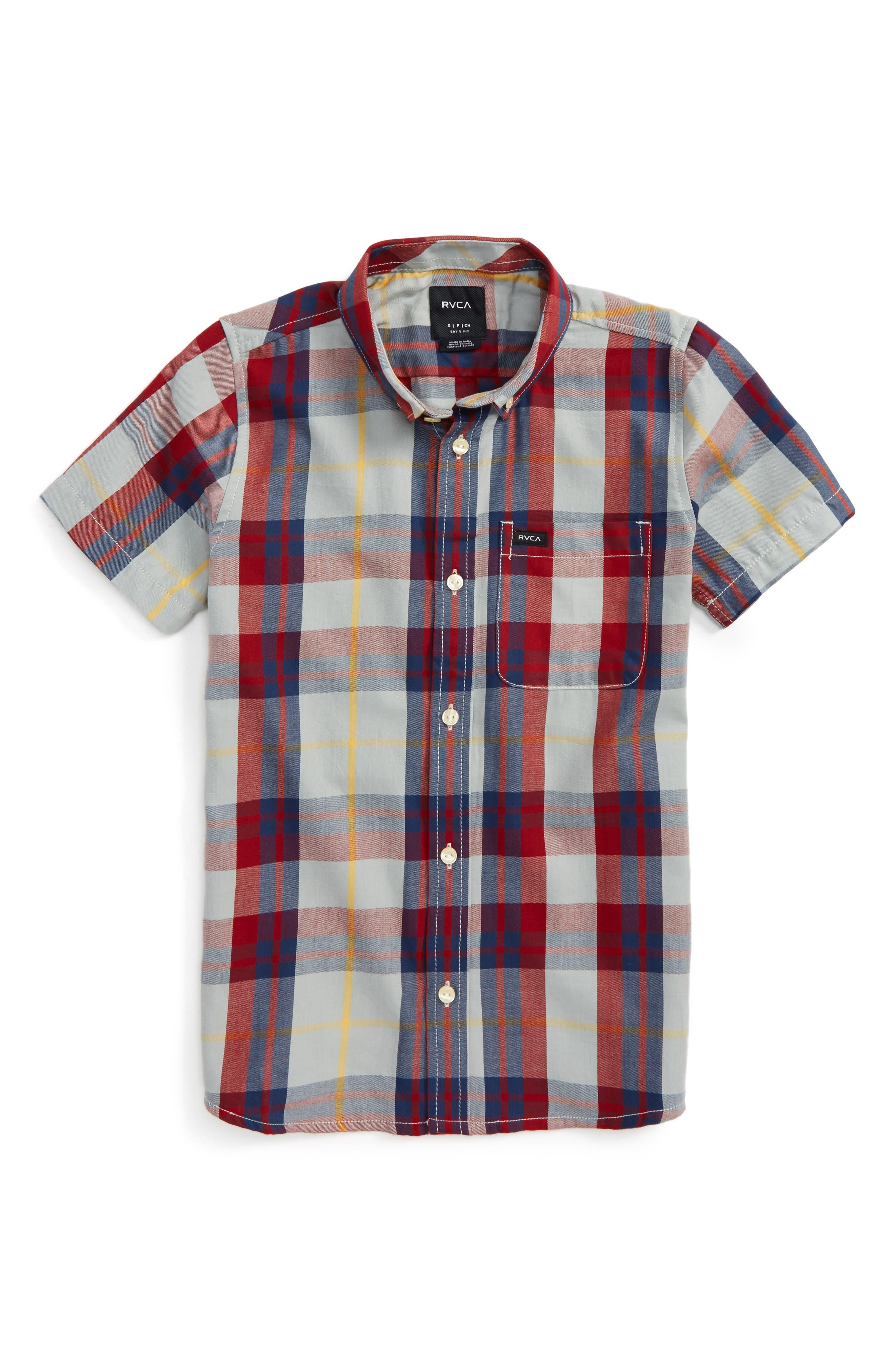 RVCA Plaid Woven Shirt (Big Boys)