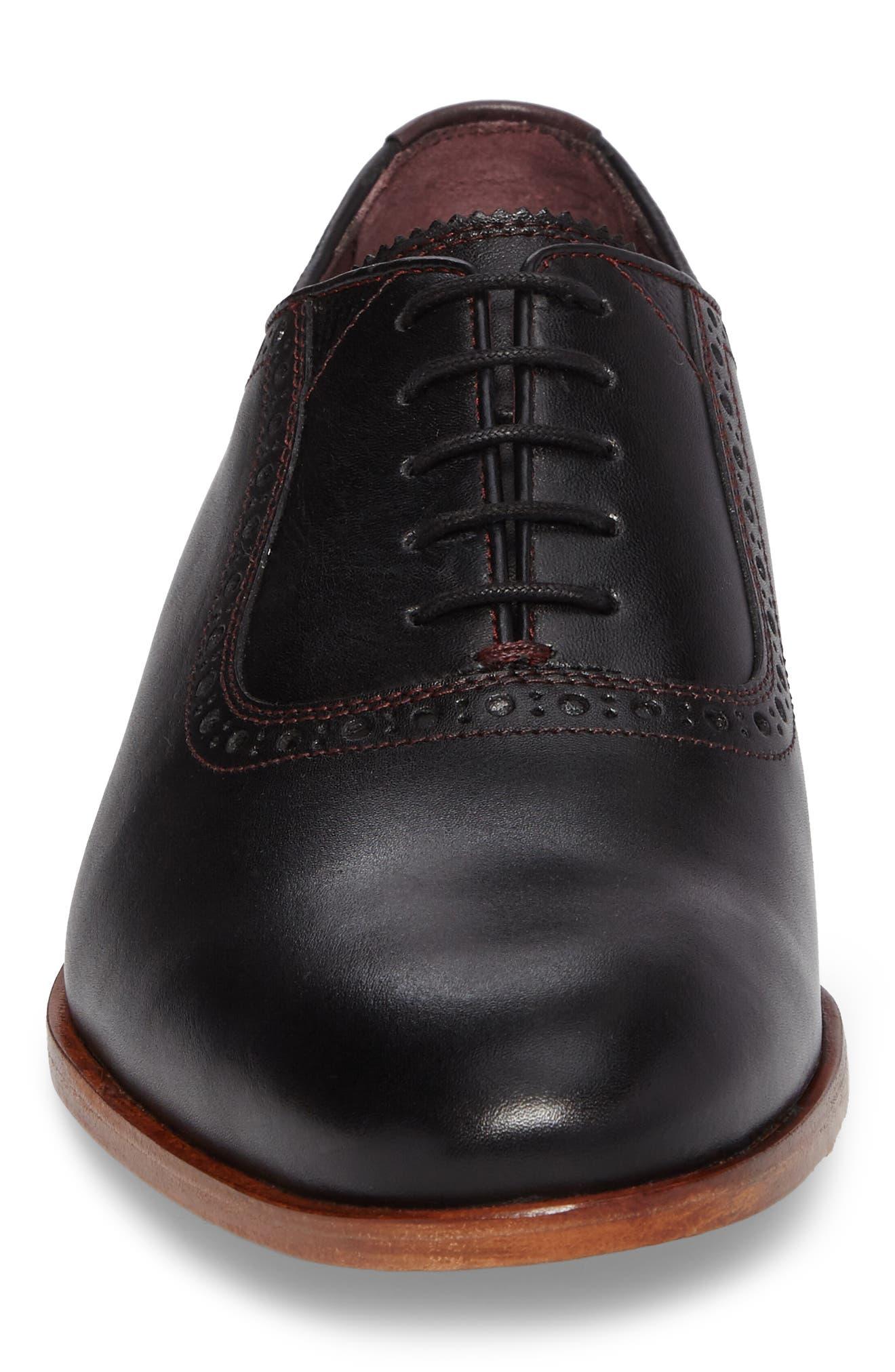 Anice Plain Toe Oxford,                             Alternate thumbnail 4, color,                             Black Leather