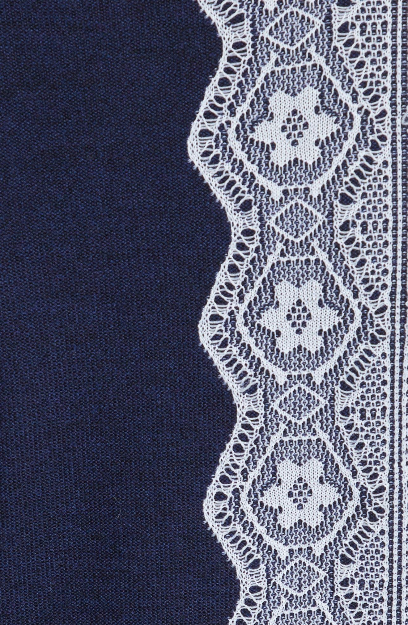 Intarsia Lace Wool Blend Dress,                             Alternate thumbnail 5, color,                             Navy Melange