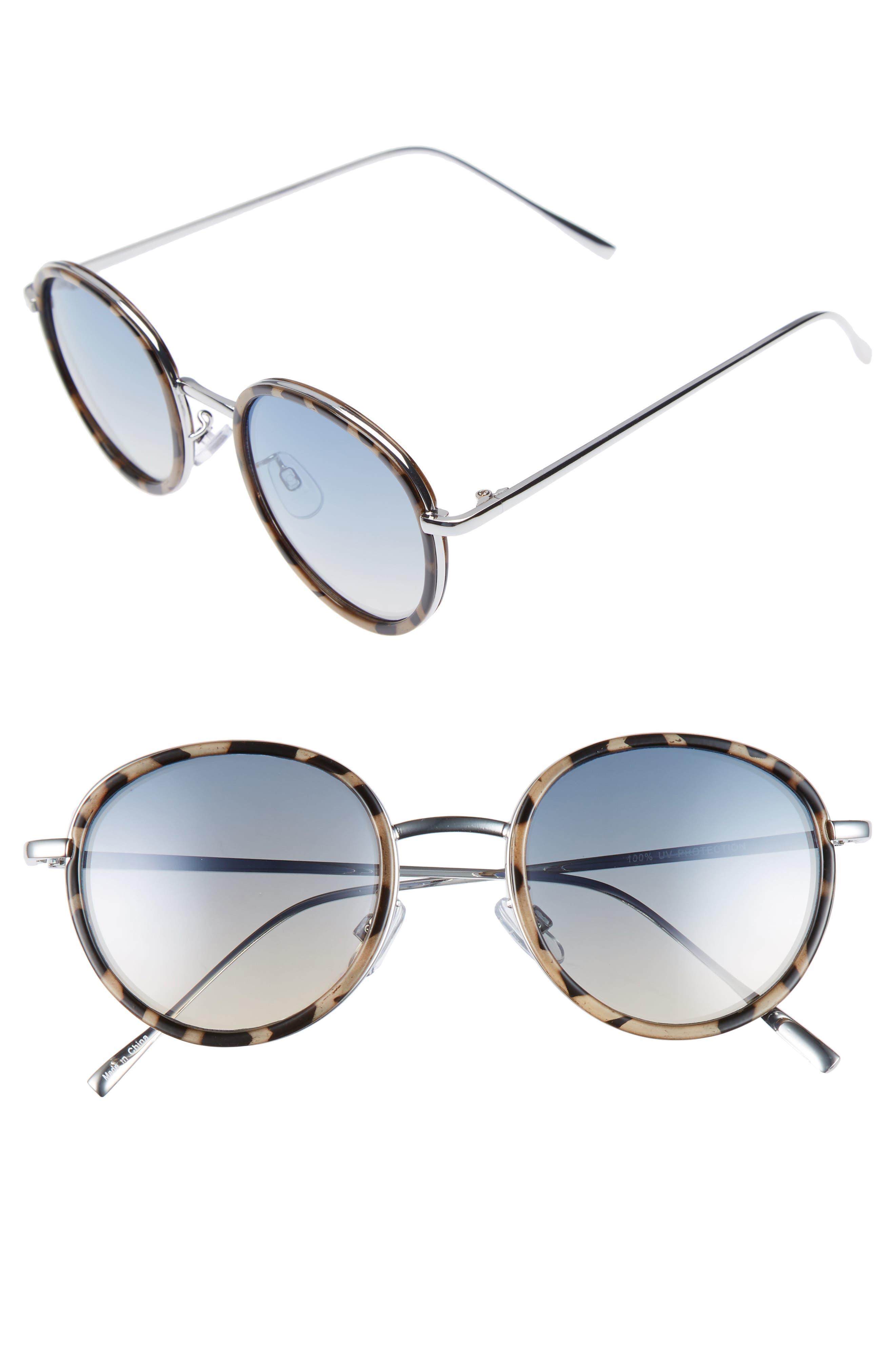 Round Sunglasses,                         Main,                         color, Tort/ Blue