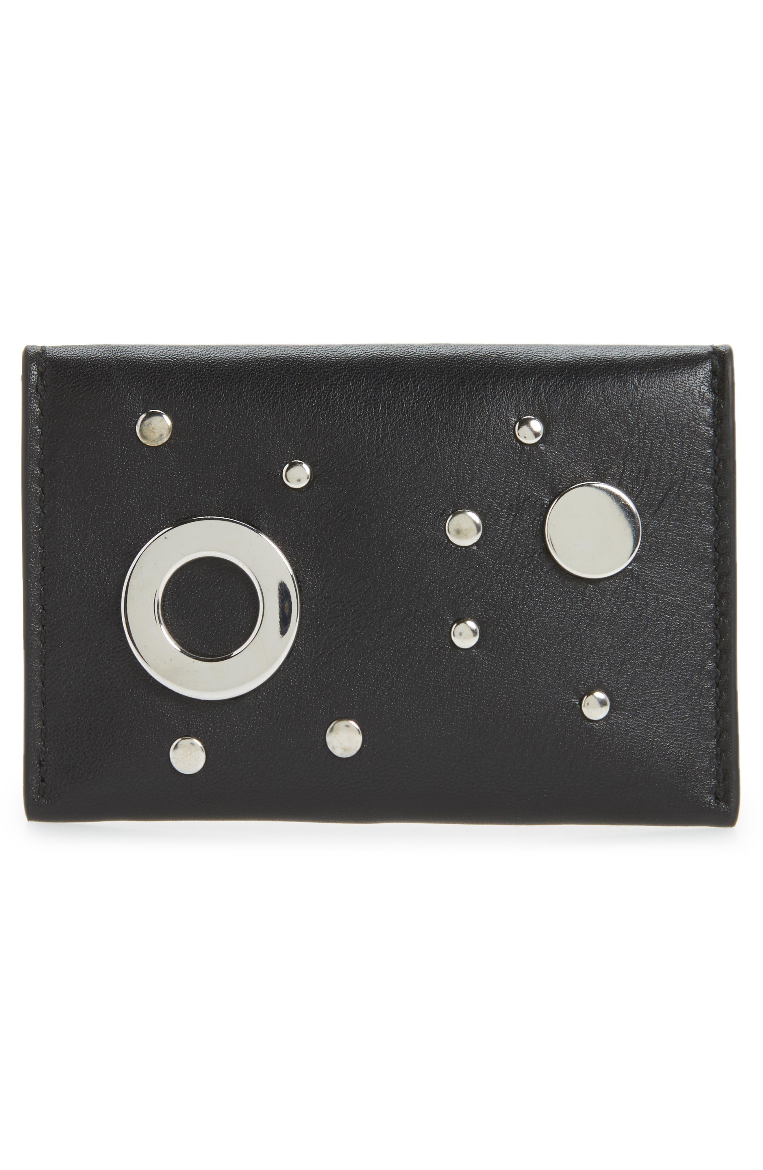 Calfskin Leather Envelope Card Holder,                             Alternate thumbnail 2, color,                             Black