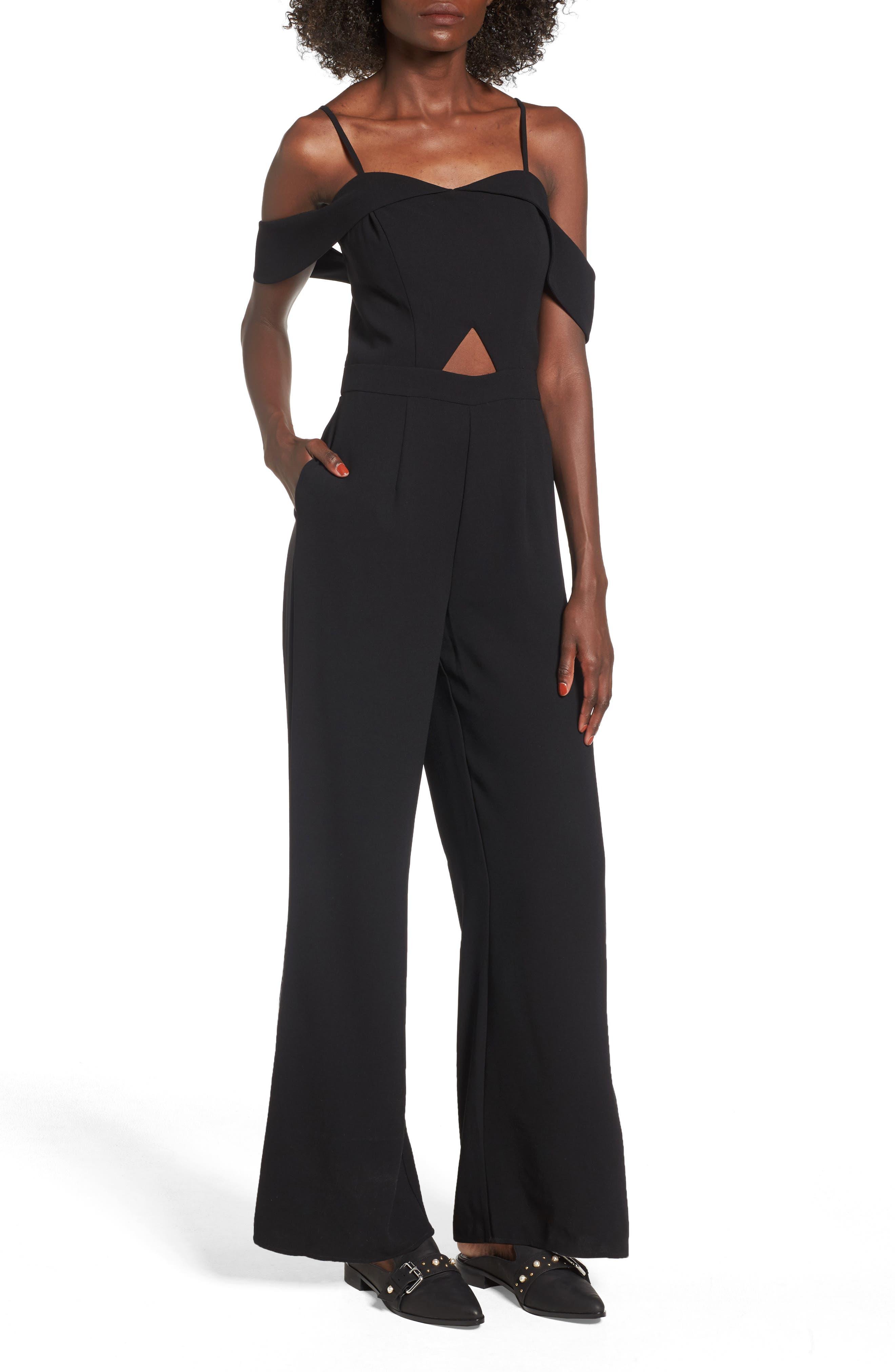 Off the Shoulder Jumpsuit,                         Main,                         color, Black