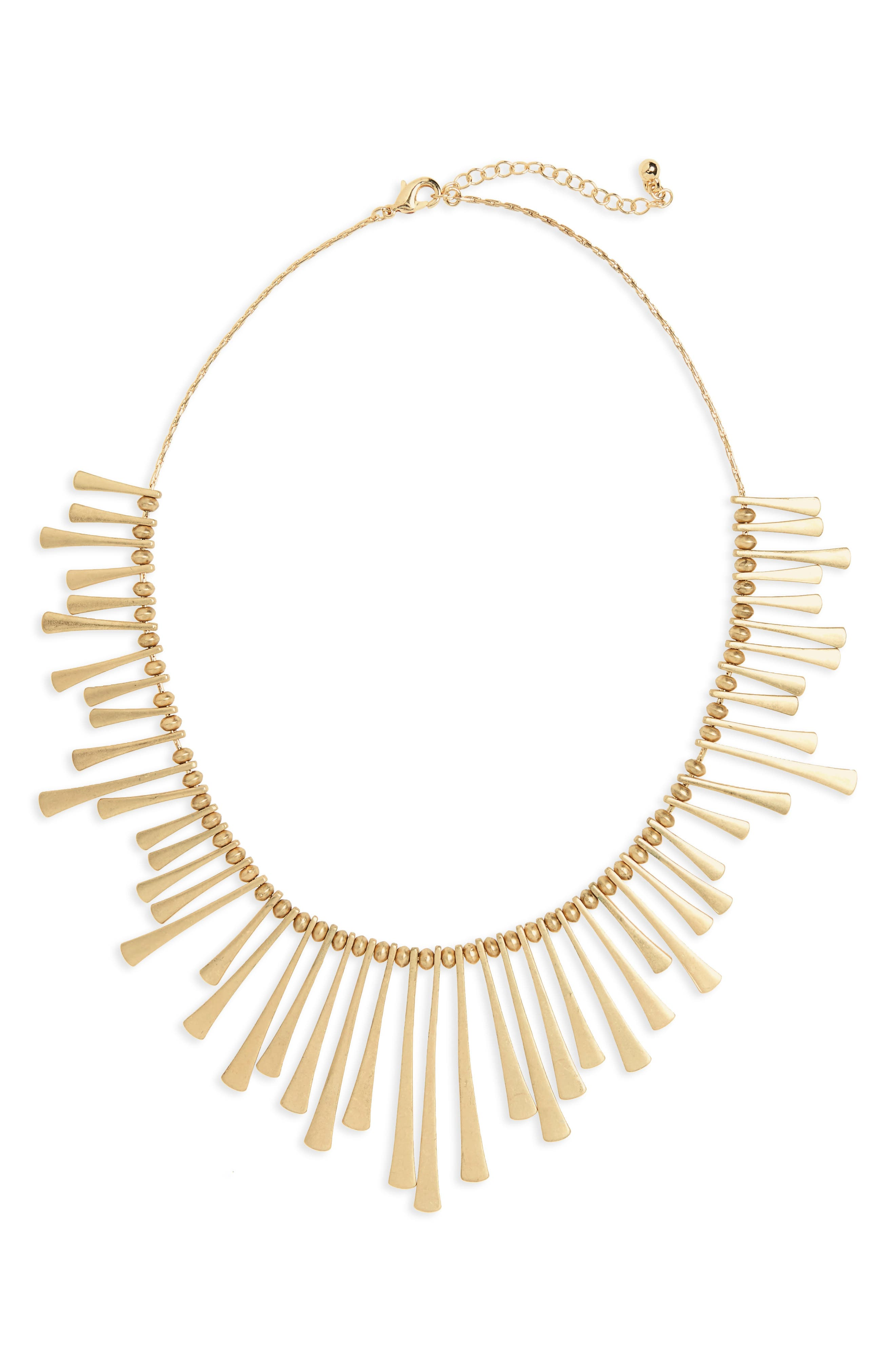 Bar Bib Necklace,                         Main,                         color, Gold