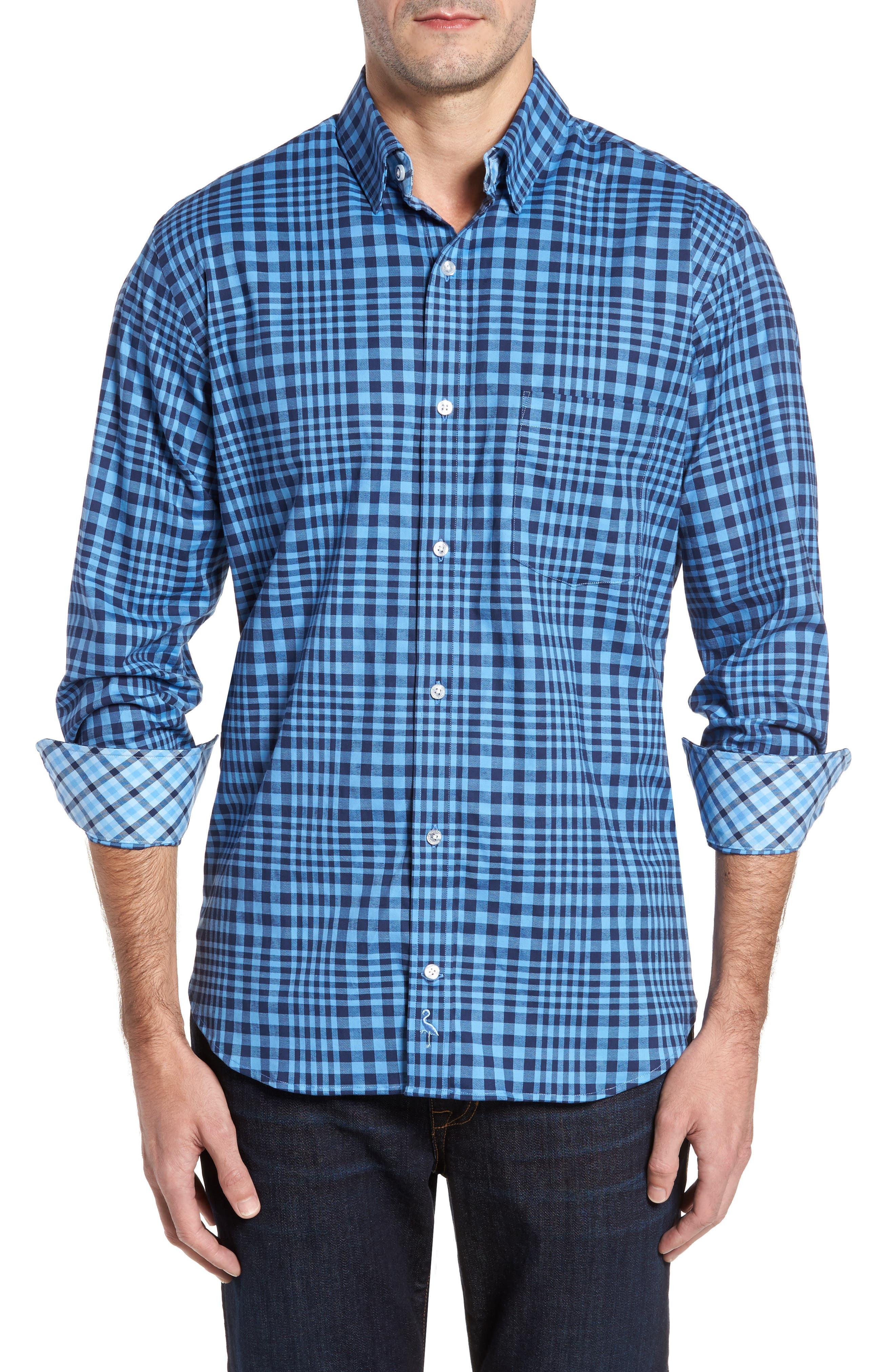 Bayou Cone Check Sport Shirt,                         Main,                         color, Navy