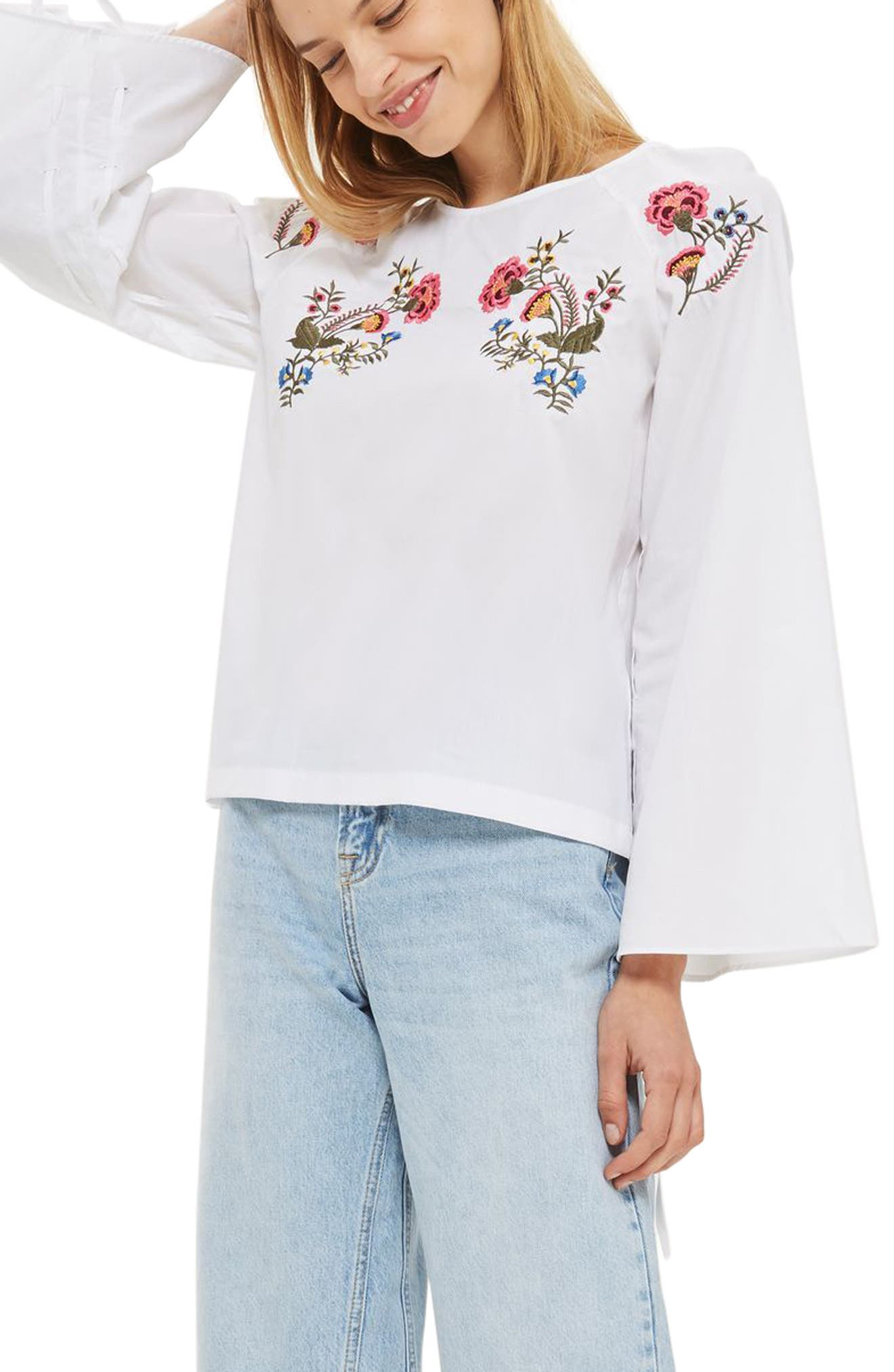 Topshop Rosemary Floral Embroidered Top