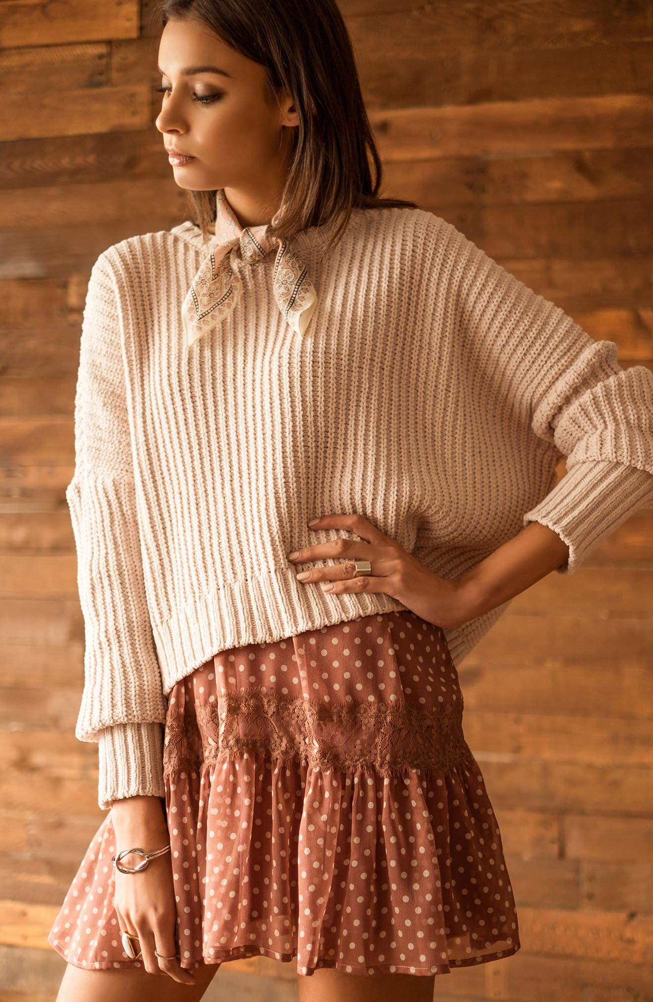 Alternate Image 7  - MOON RIVER Drop Shoulder Chunky Knit Sweater