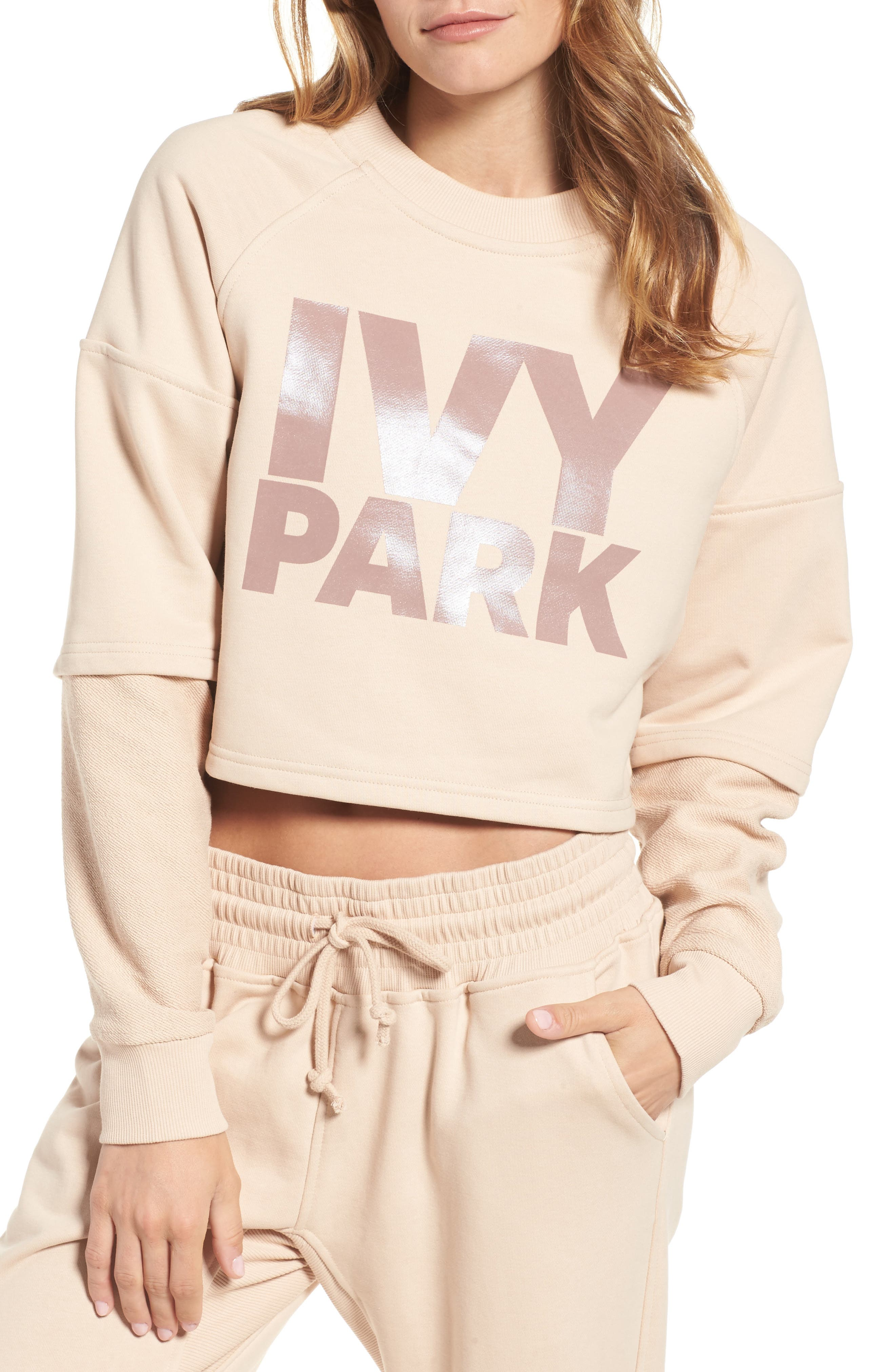 Washed Jersey Cropped Logo Sweatshirt,                         Main,                         color, Dusty Pink