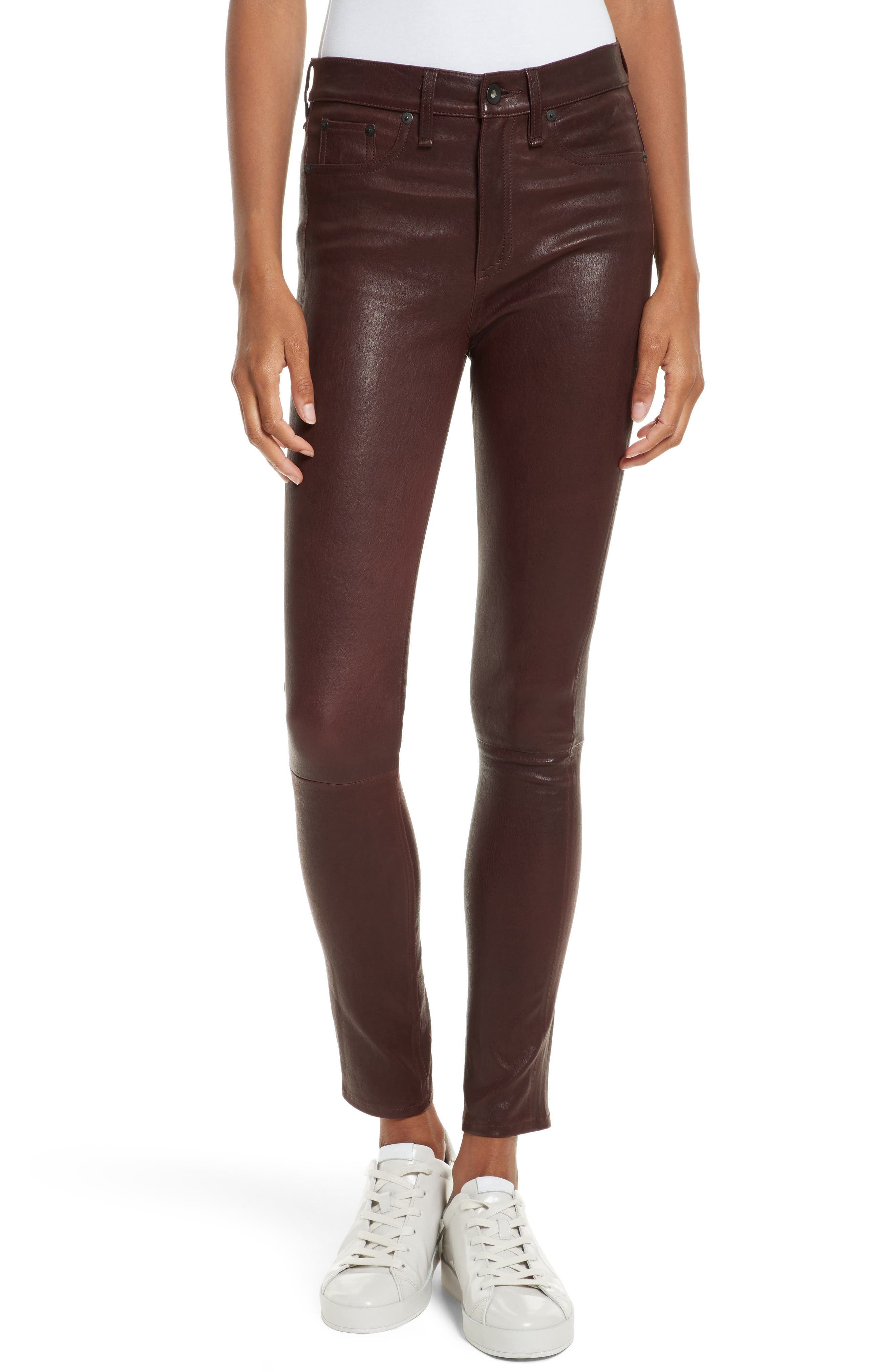 Lambskin Leather Pants,                         Main,                         color, Mahogany
