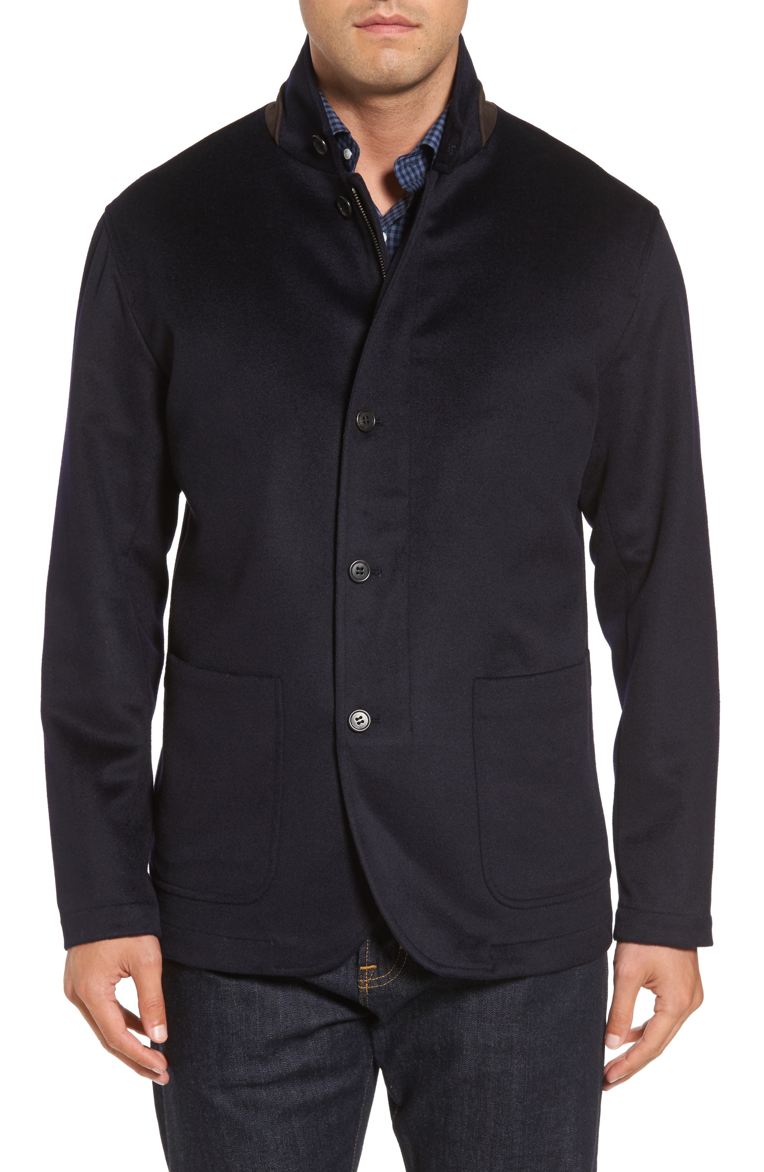 Crown Wool & Cashmere Jacket,                             Alternate thumbnail 4, color,                             Navy