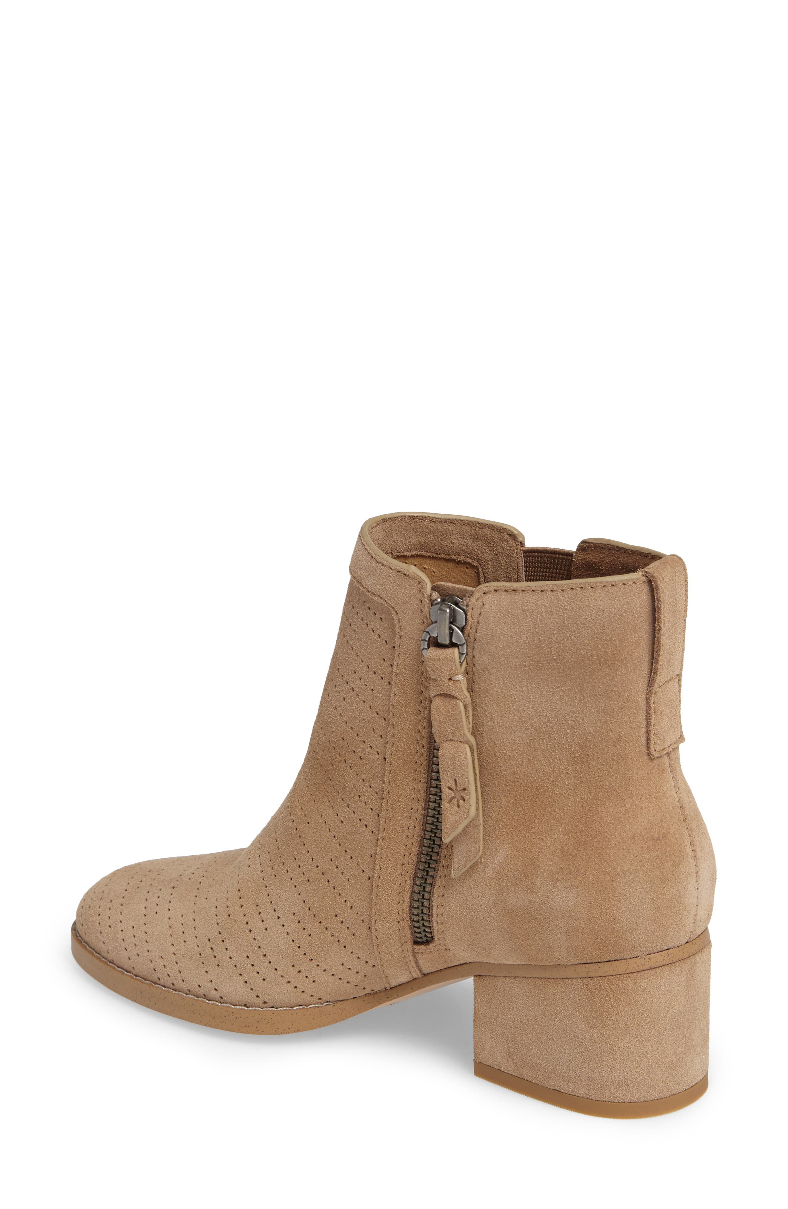 Rosalie Perforated Bootie,                             Alternate thumbnail 2, color,                             Light Taupe Suede