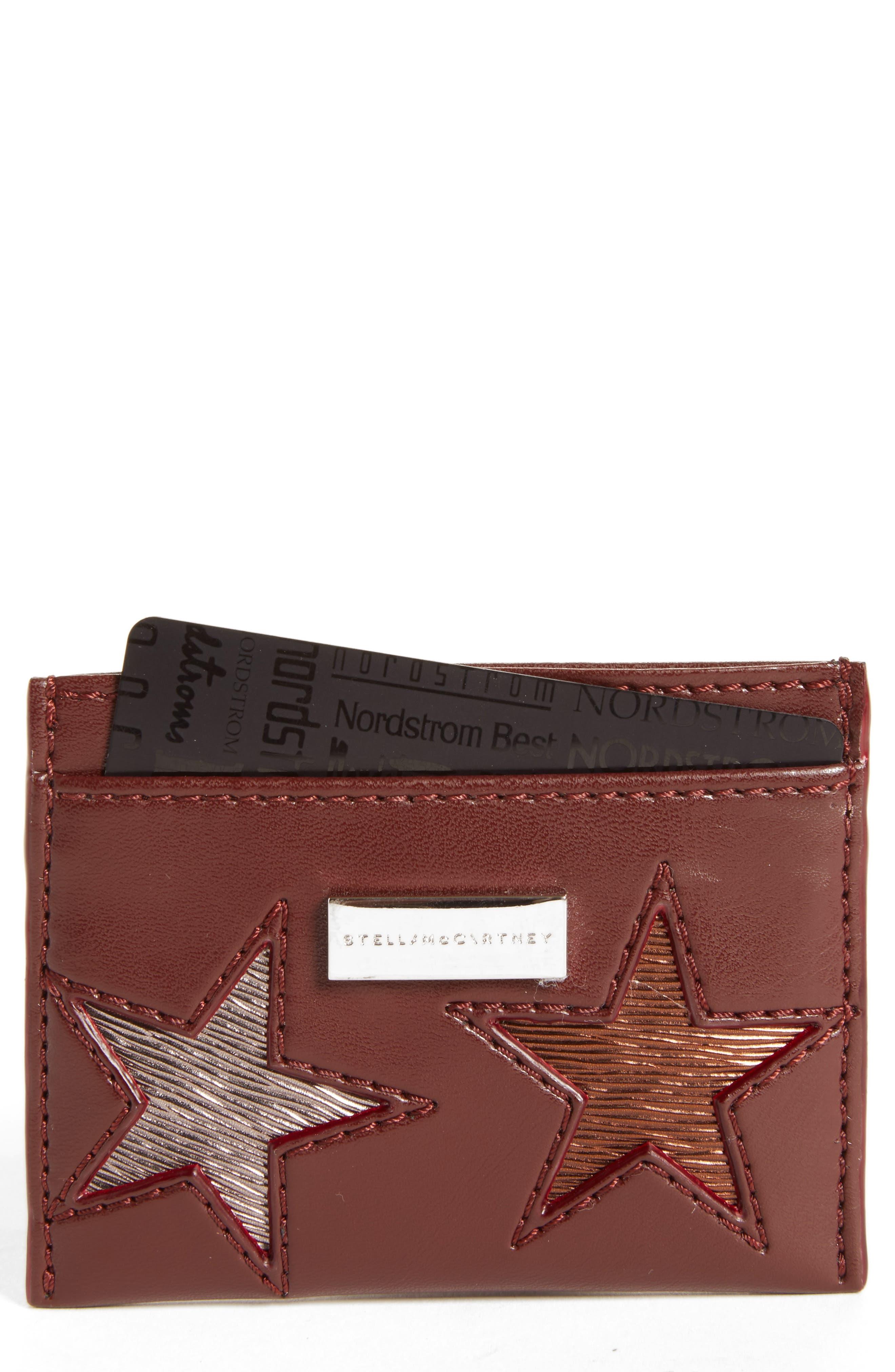 Falabella Star Cutout Faux Leather Card Case,                             Main thumbnail 1, color,                             Black