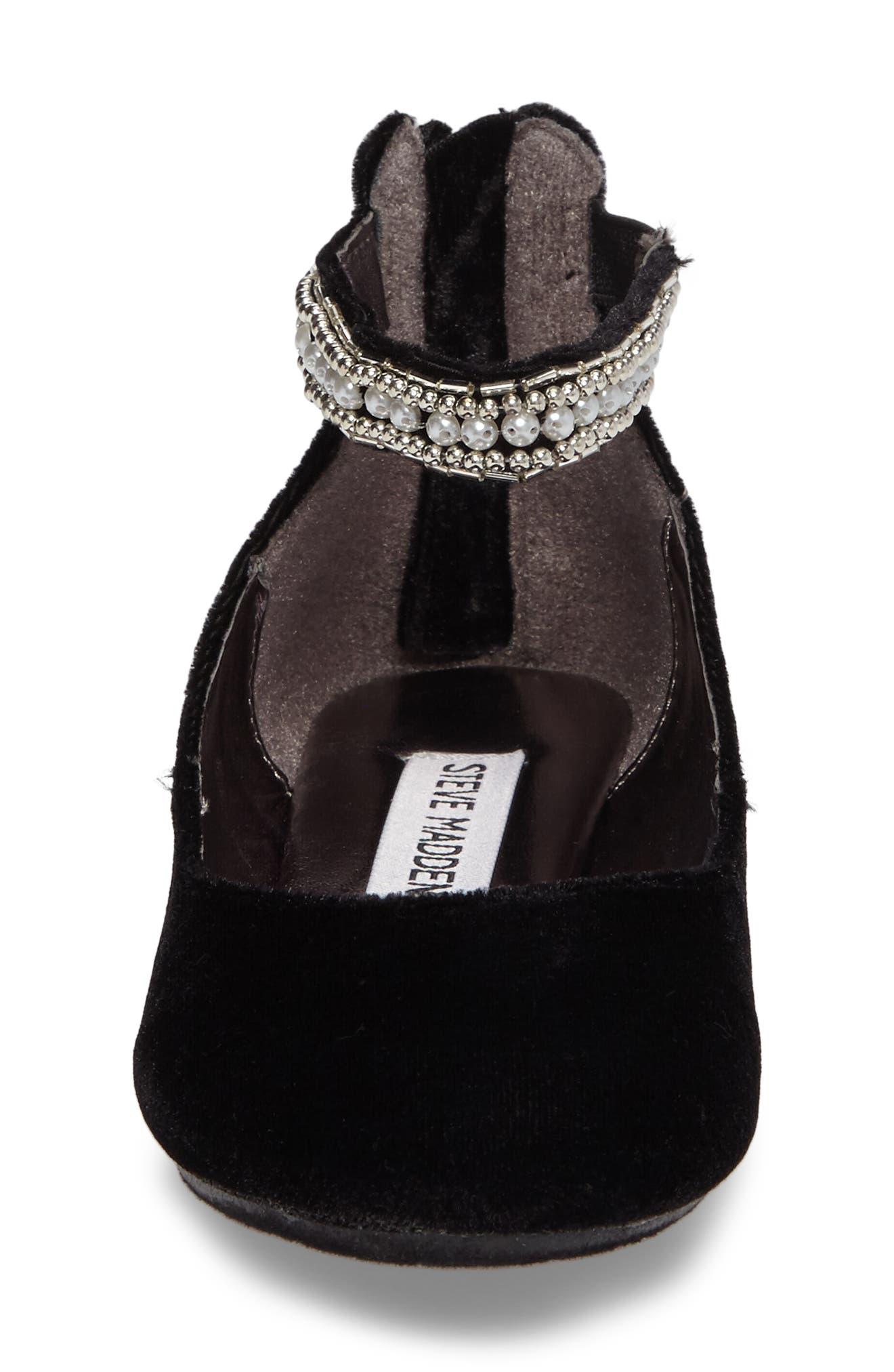 Zilerp Embellished Ankle Strap Flat,                             Alternate thumbnail 4, color,                             Black Velvet