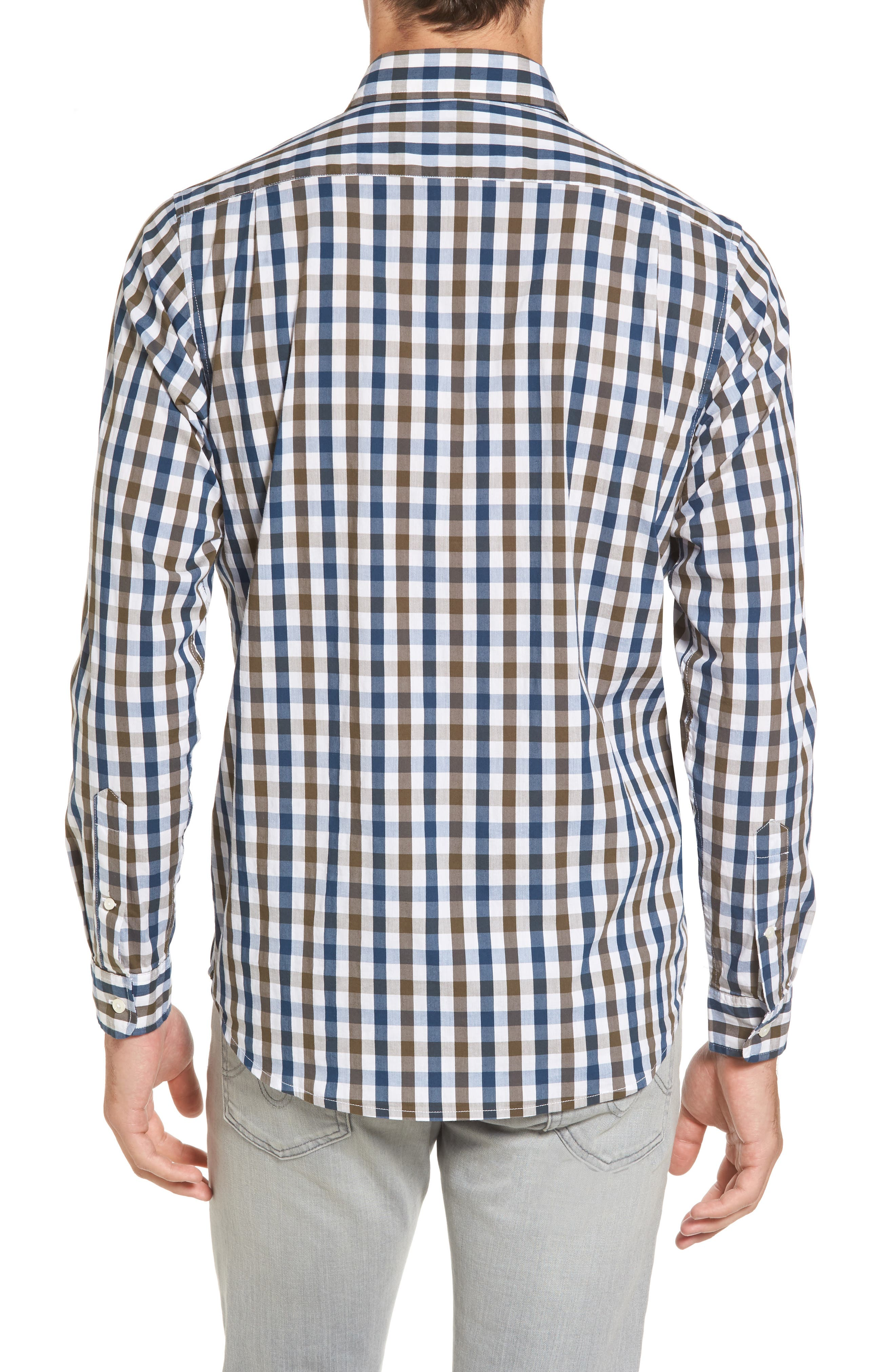 Regular Fit Performance Sport Shirt,                             Alternate thumbnail 2, color,                             Teal/ Army Tricolor Gingham