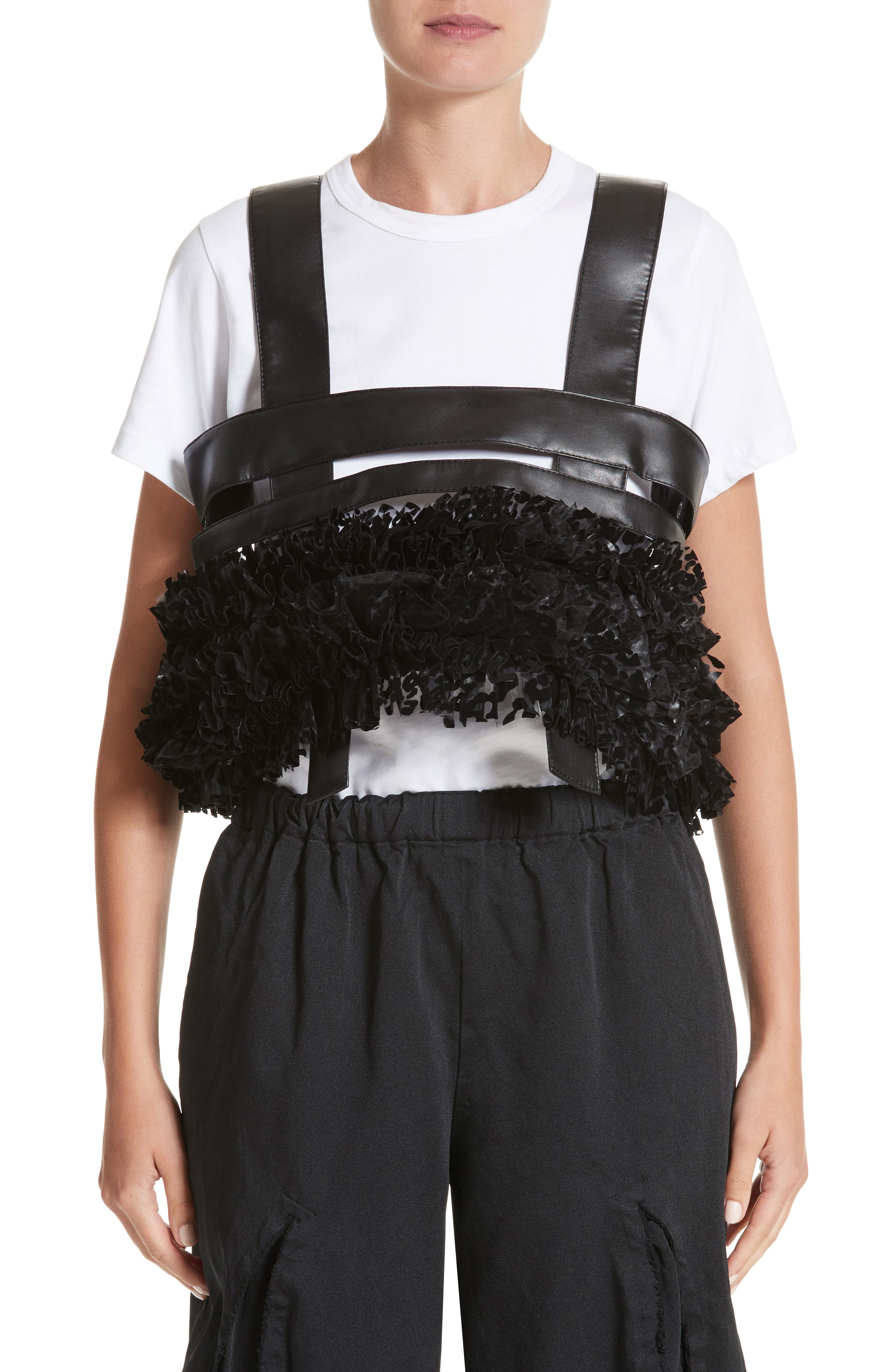 Ruffled Faux Leather Harness,                         Main,                         color, Black