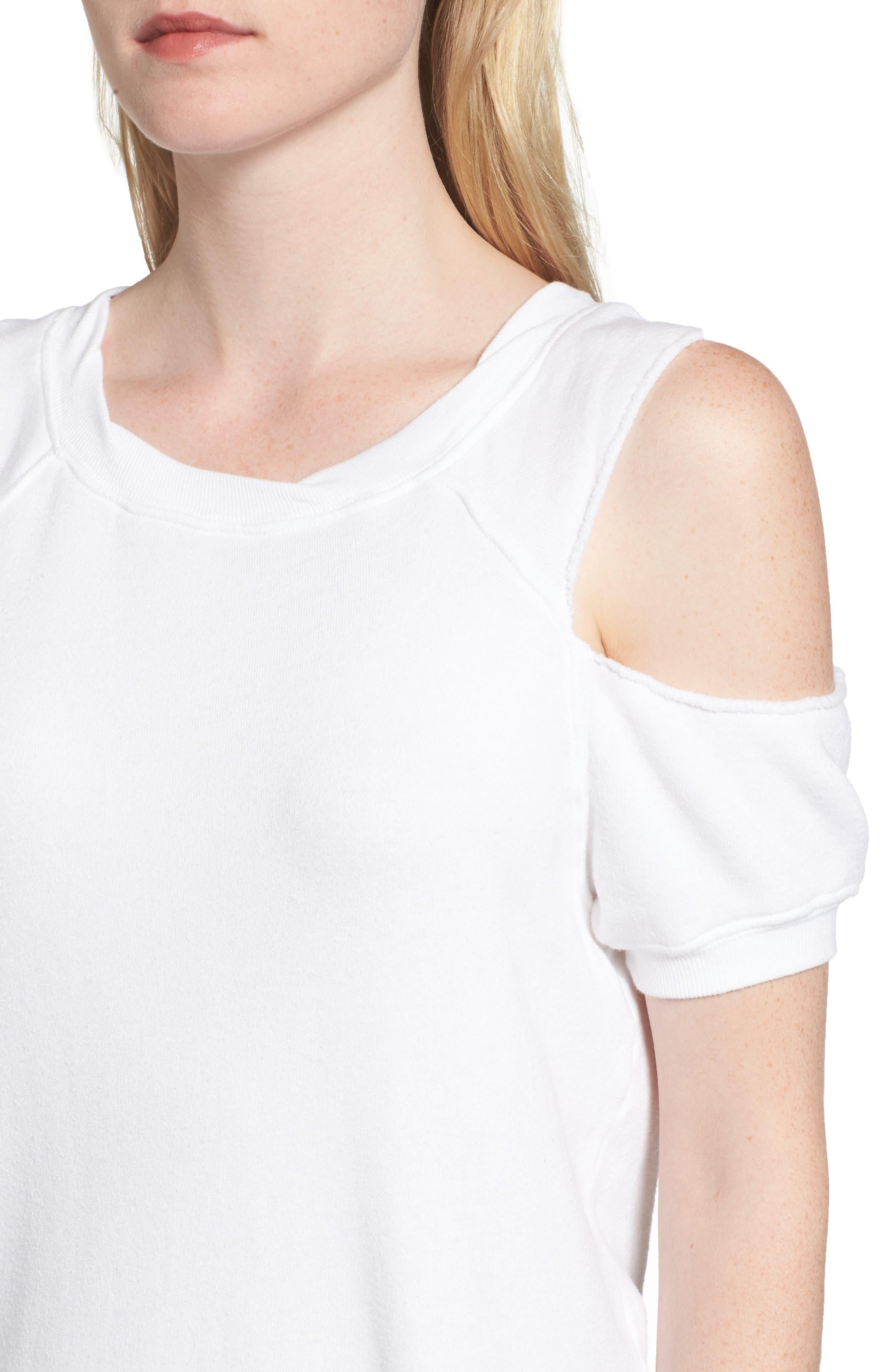 Cold Shoulder Sweatshirt,                             Alternate thumbnail 4, color,                             White
