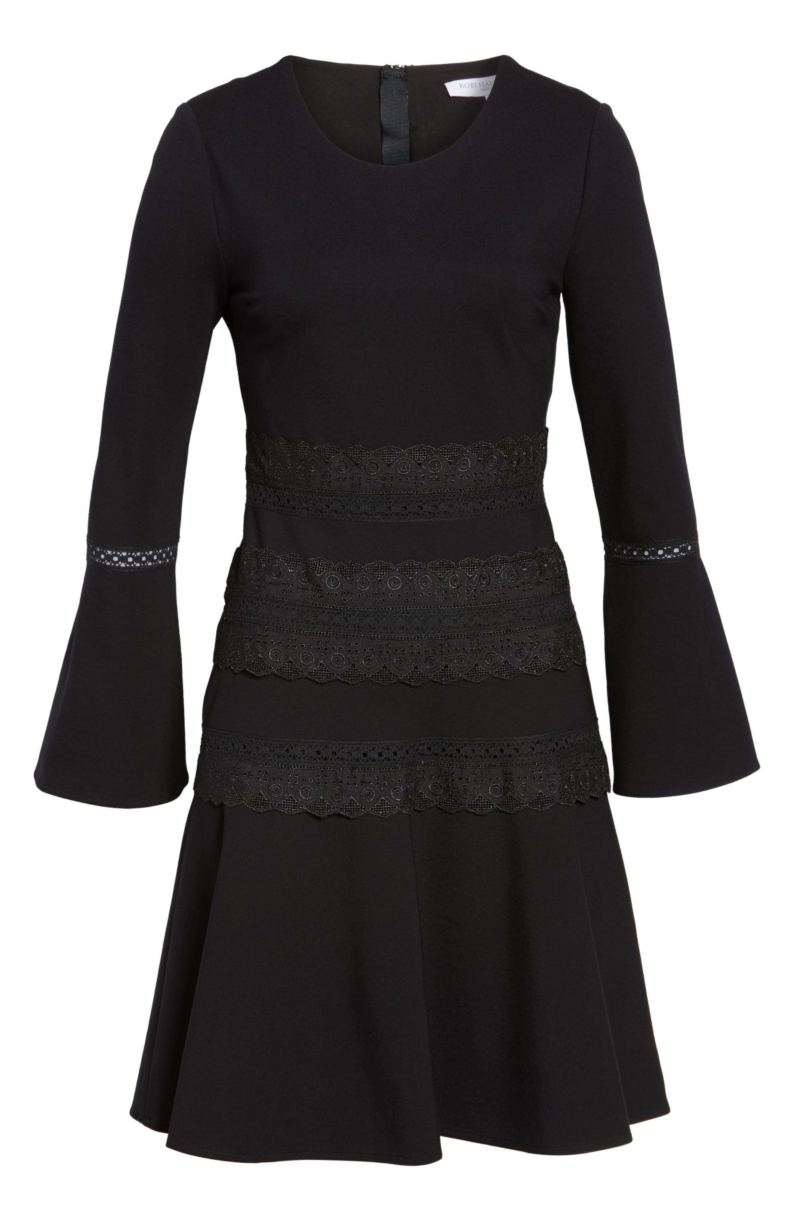 Preslie Double Knit A-Line Dress,                             Alternate thumbnail 6, color,                             Black