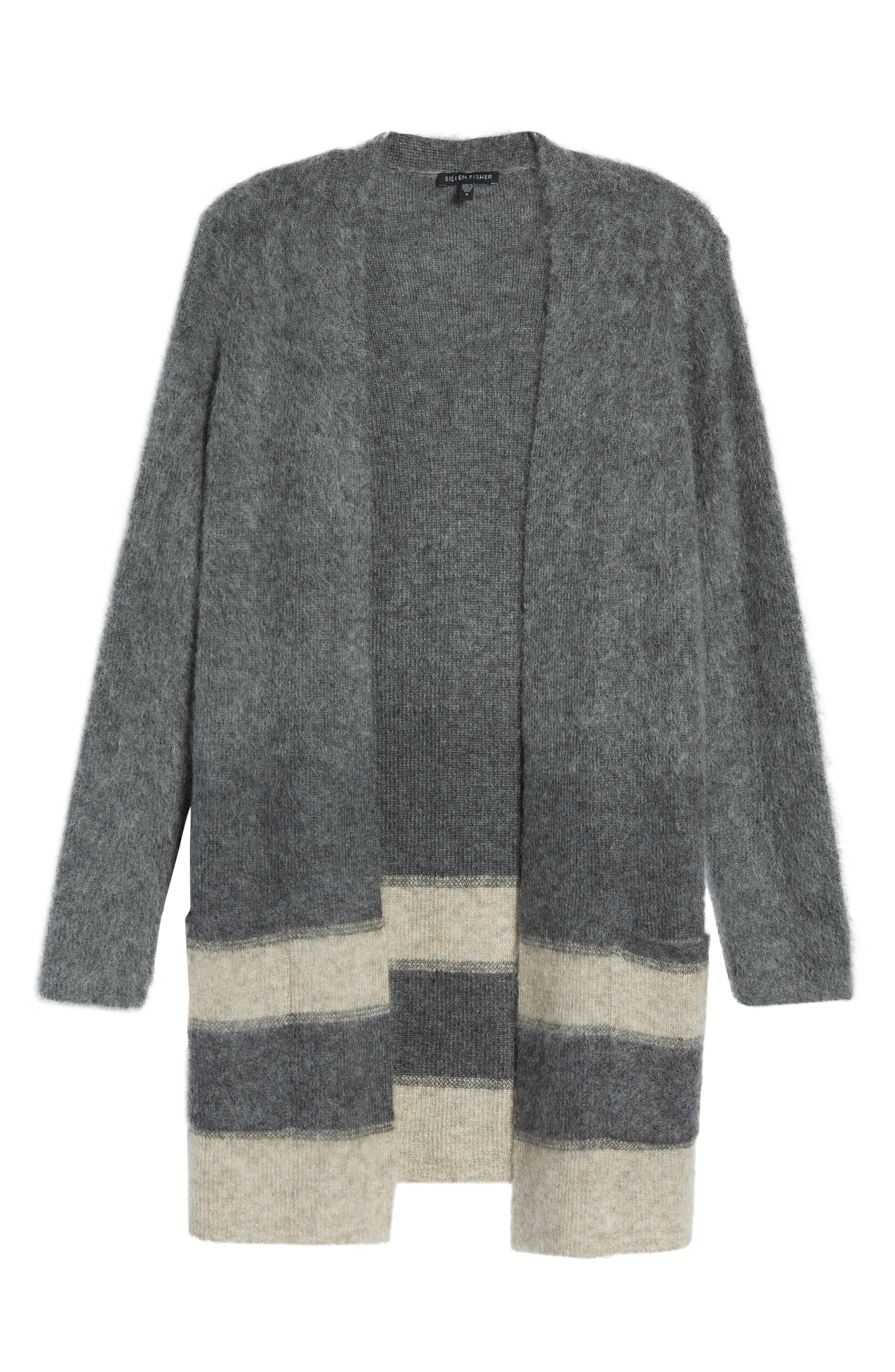 Long Open-Front Cardigan,                             Alternate thumbnail 6, color,                             Maple Oat