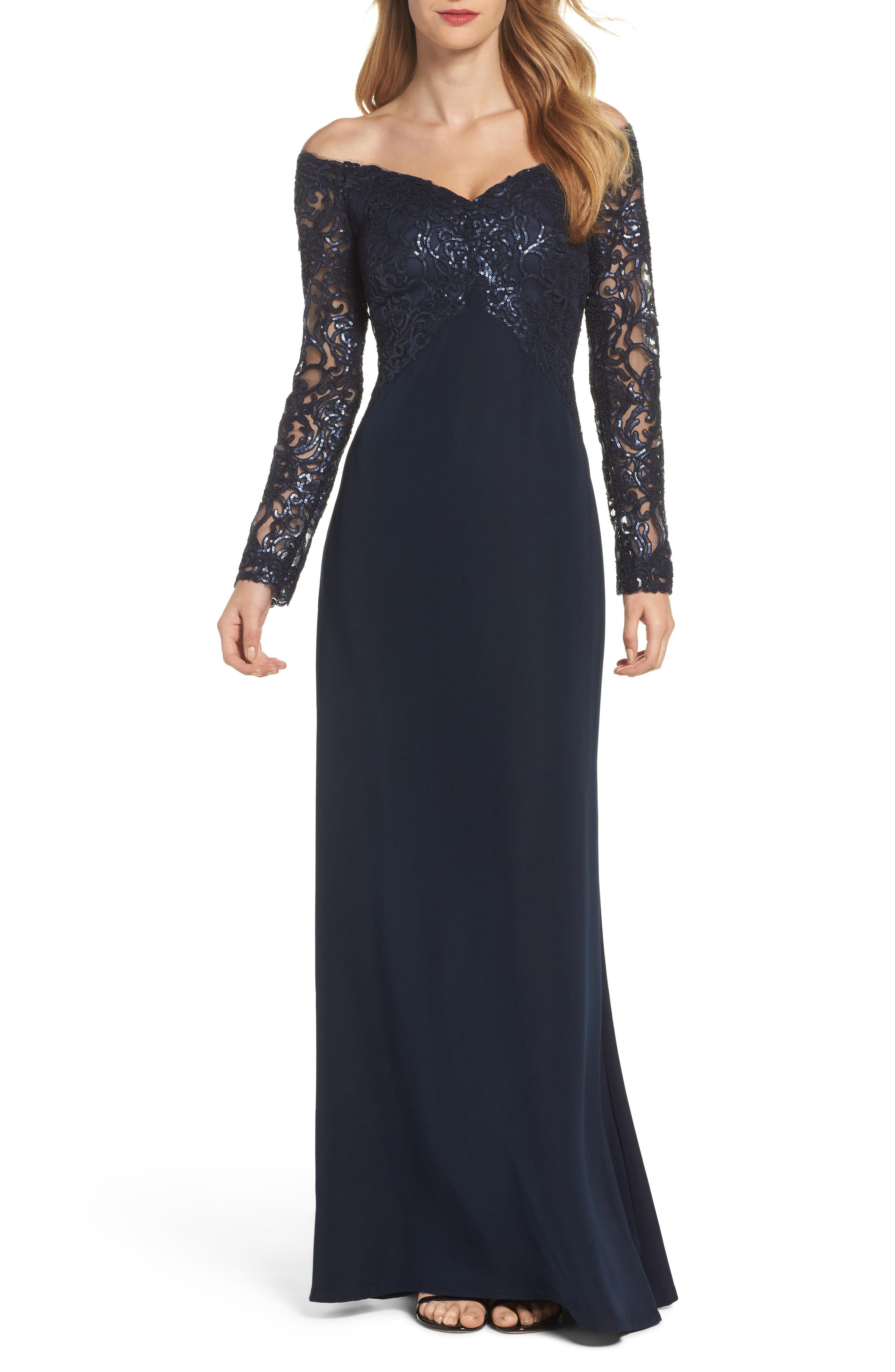 Sequin Off the Shoulder Gown,                         Main,                         color, Navy