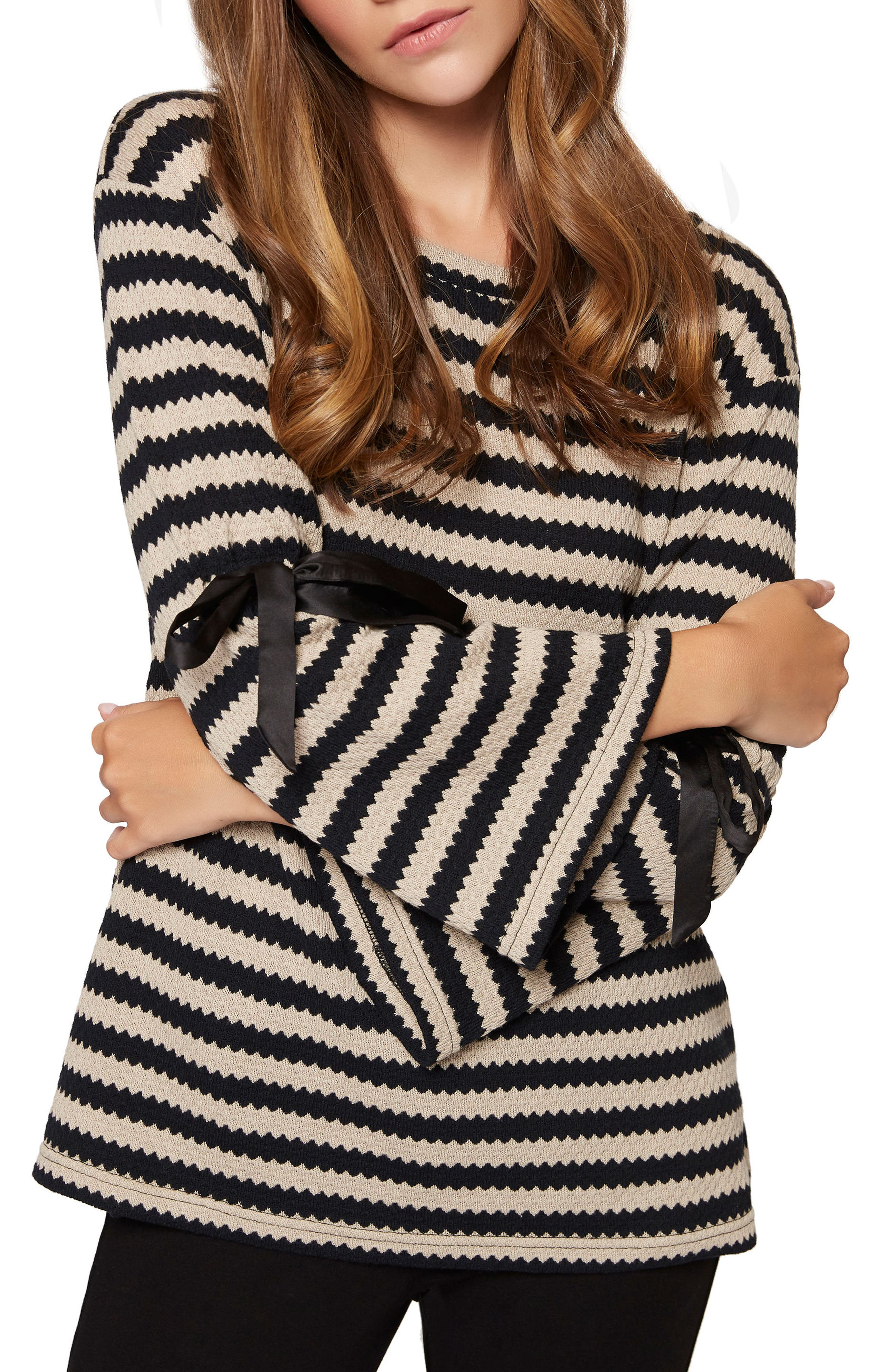 Alternate Image 3  - Sanctuary Tierney Stripe Tie Sleeve Sweatshirt (Regular & Petite)