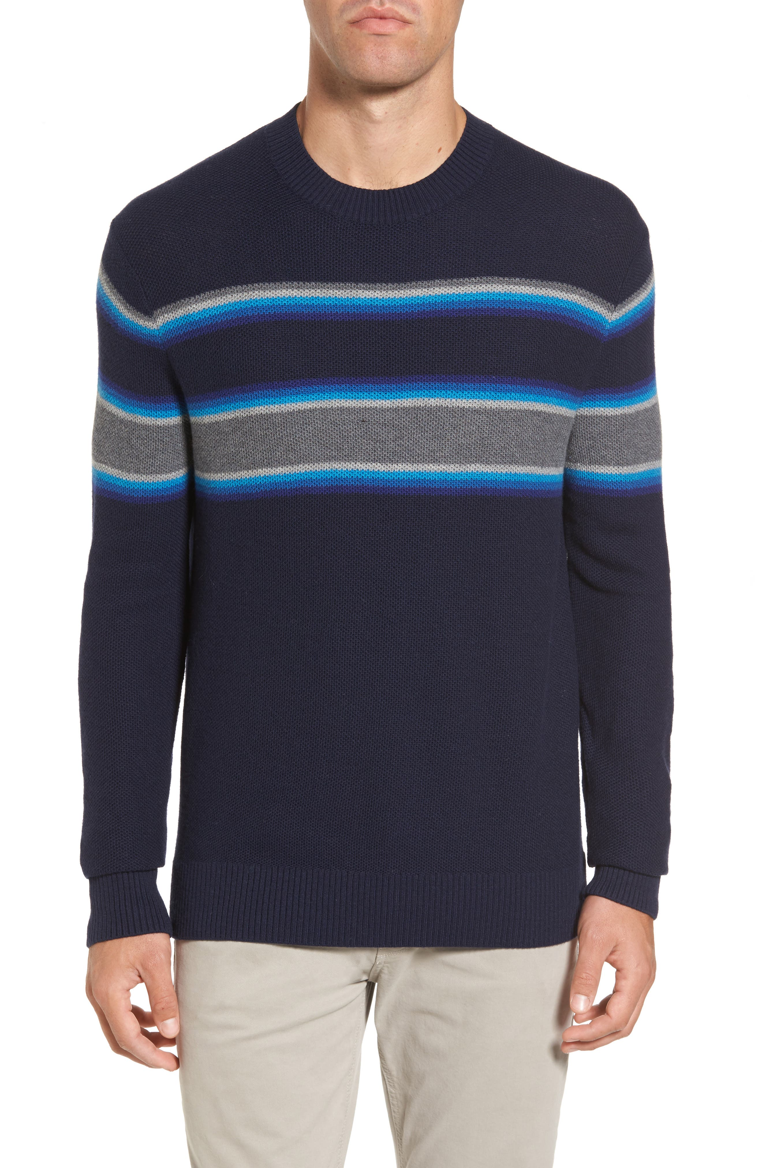 Stripe Merino Blend Sweater,                             Main thumbnail 1, color,                             Blue Ink